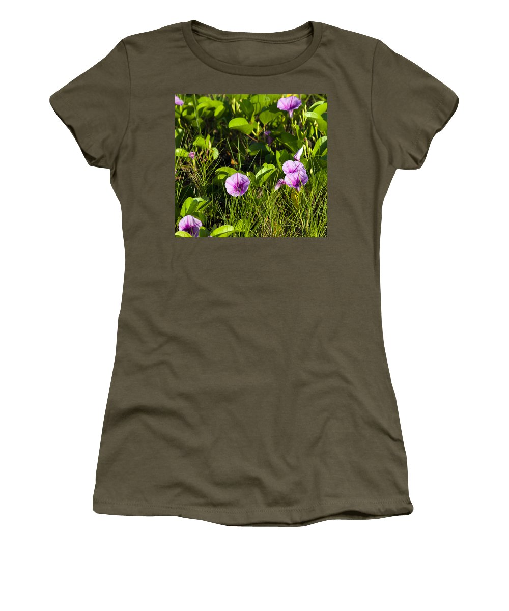 Railroad; Vine; Morning; Glory; Ipomoea; Pes-caprae; Pes; Caprae; Flower; Florida; Shore; Beach; Bea Women's T-Shirt (Athletic Fit) featuring the photograph Railroad Vine by Allan Hughes