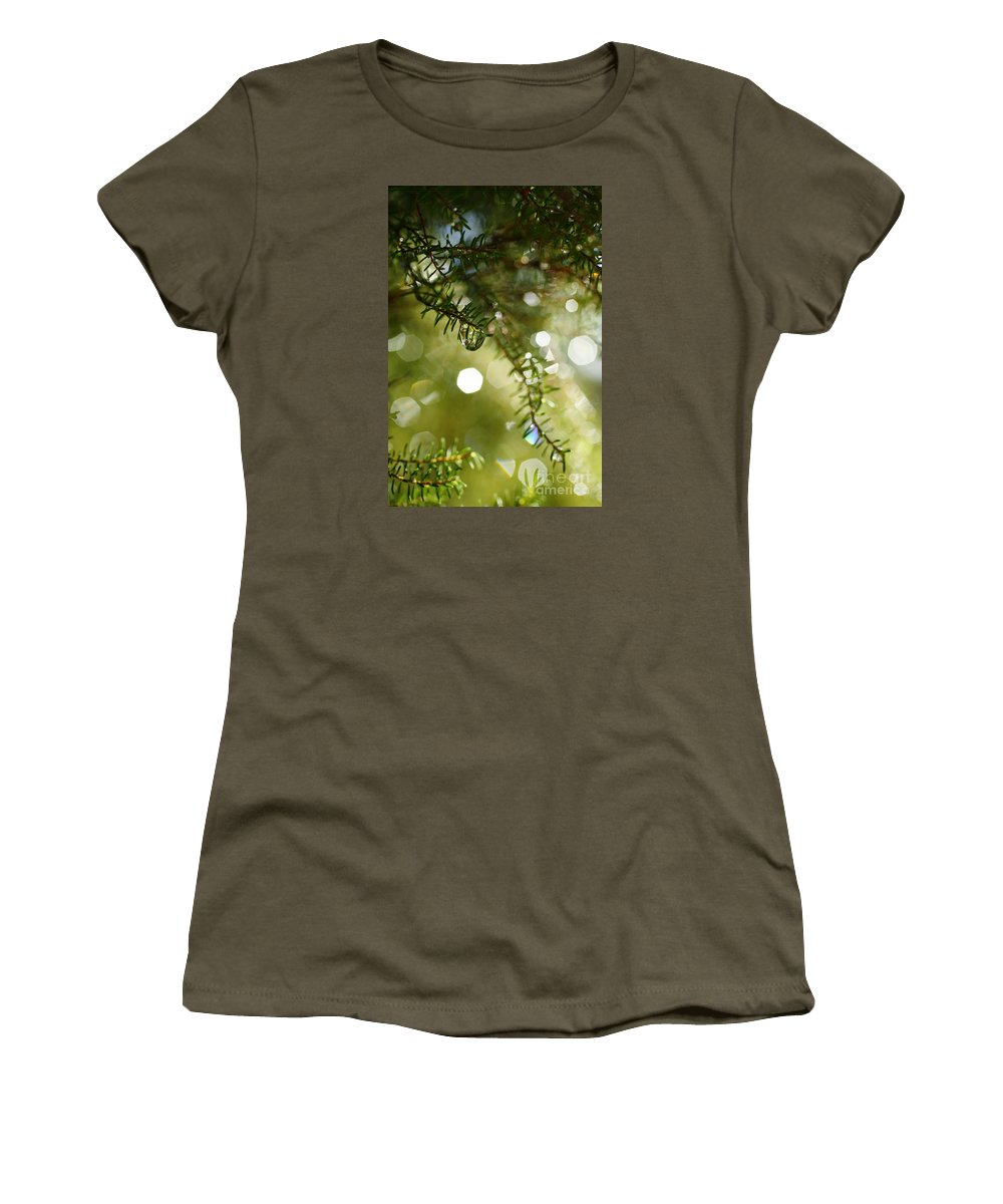 Dew Women's T-Shirt (Athletic Fit) featuring the photograph Raindrops by Gaspar Avila