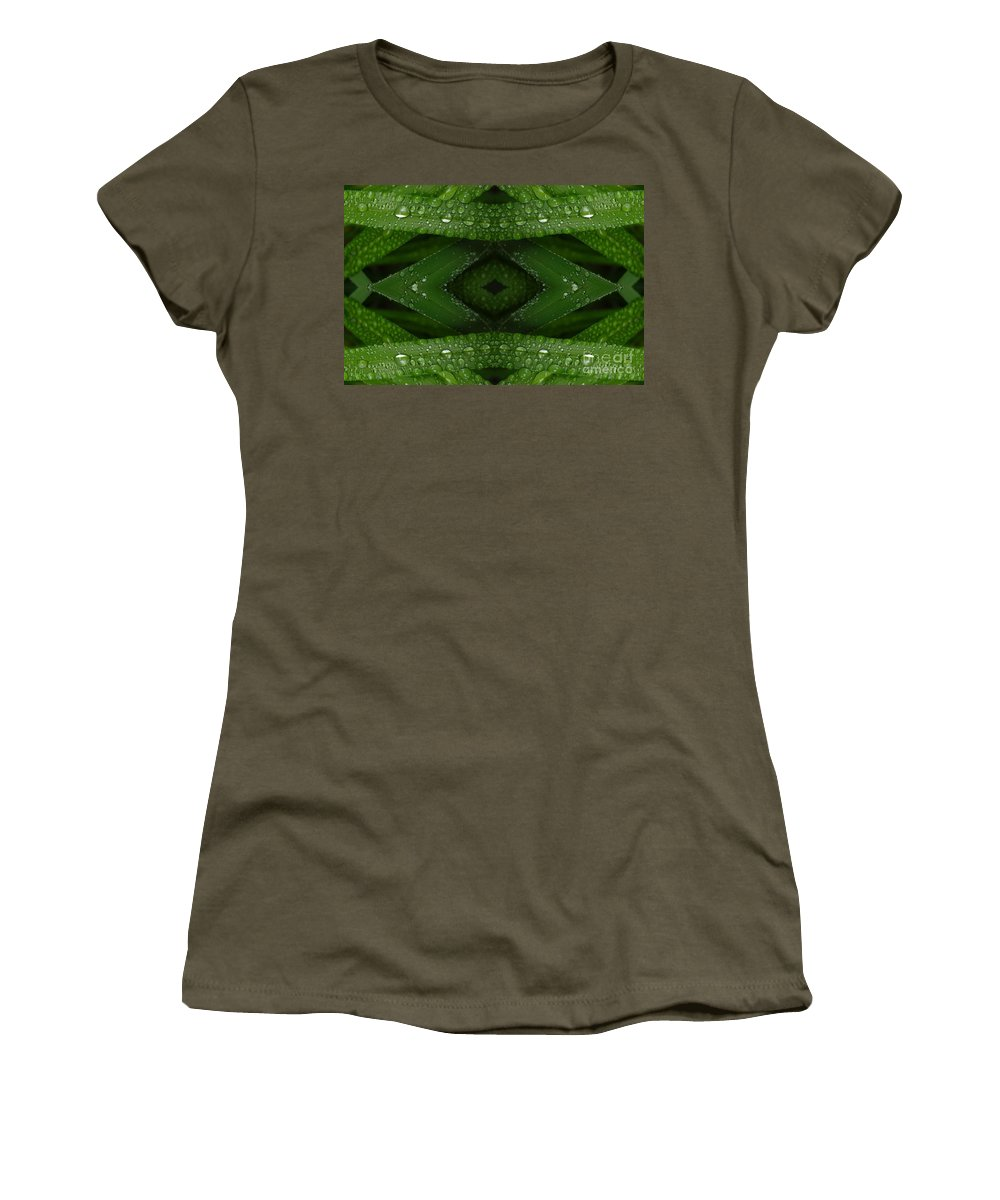 Nature Women's T-Shirt (Athletic Fit) featuring the digital art Raindrops On Green Leaves Collage by Carol Groenen