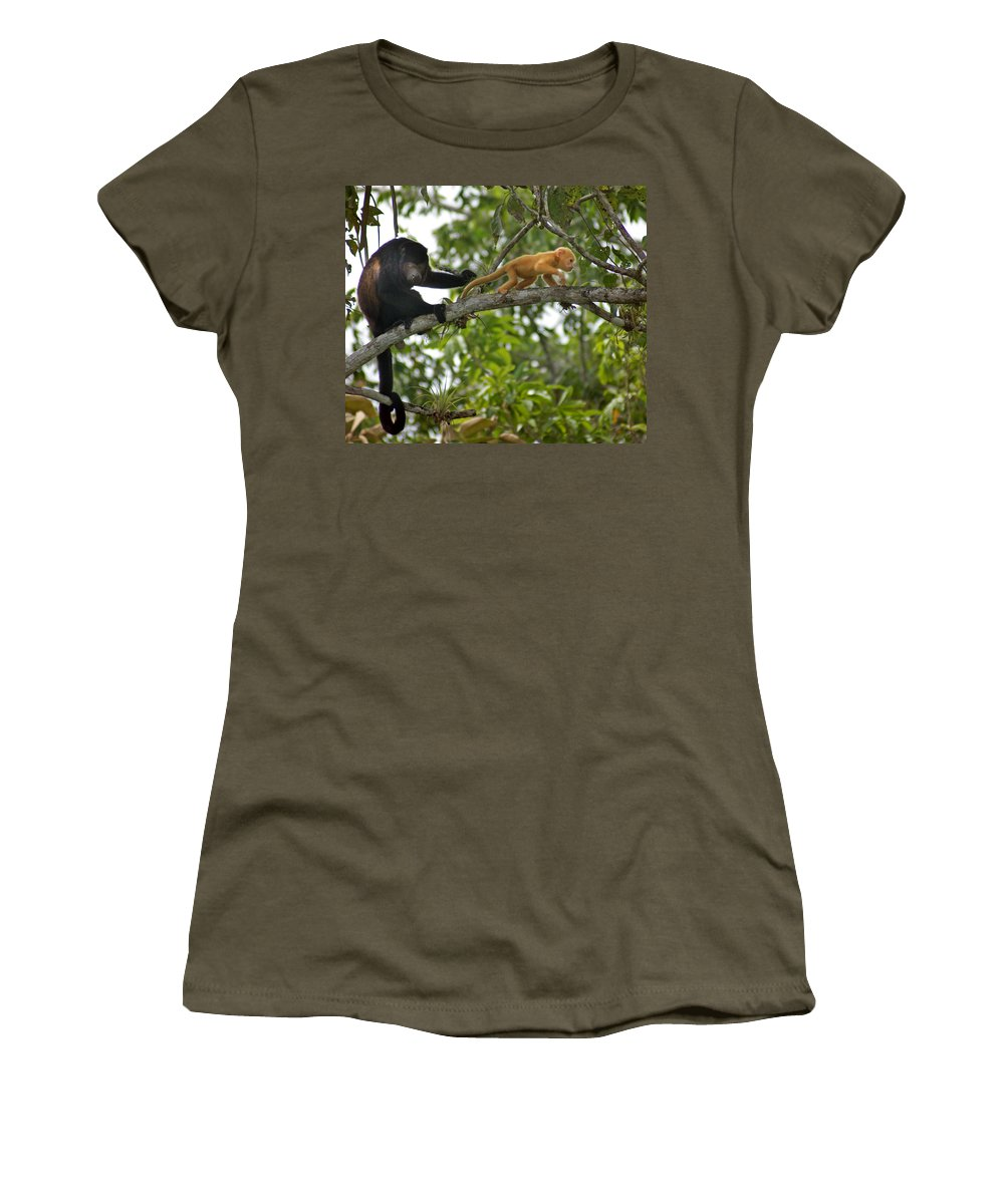 Monkey Women's T-Shirt (Athletic Fit) featuring the photograph Rare Golden Monkey by Heather Coen
