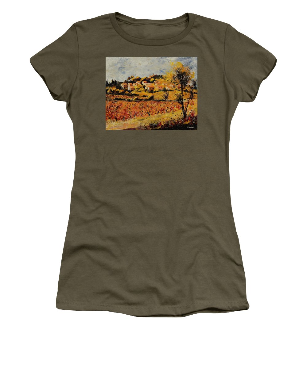 Provence Women's T-Shirt featuring the painting Rasteau Vaucluse by Pol Ledent
