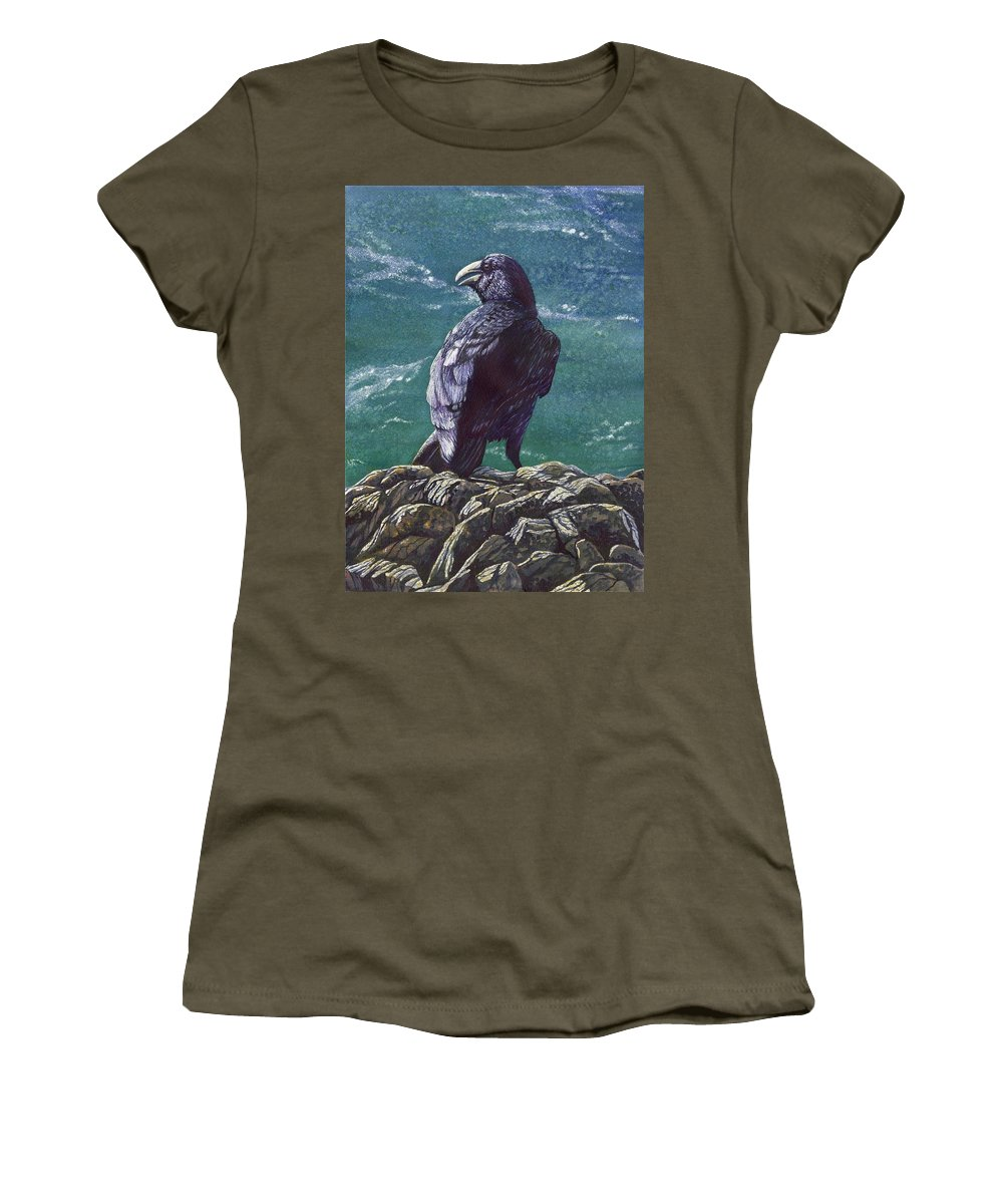 Bird Women's T-Shirt featuring the painting Raven by Catherine G McElroy