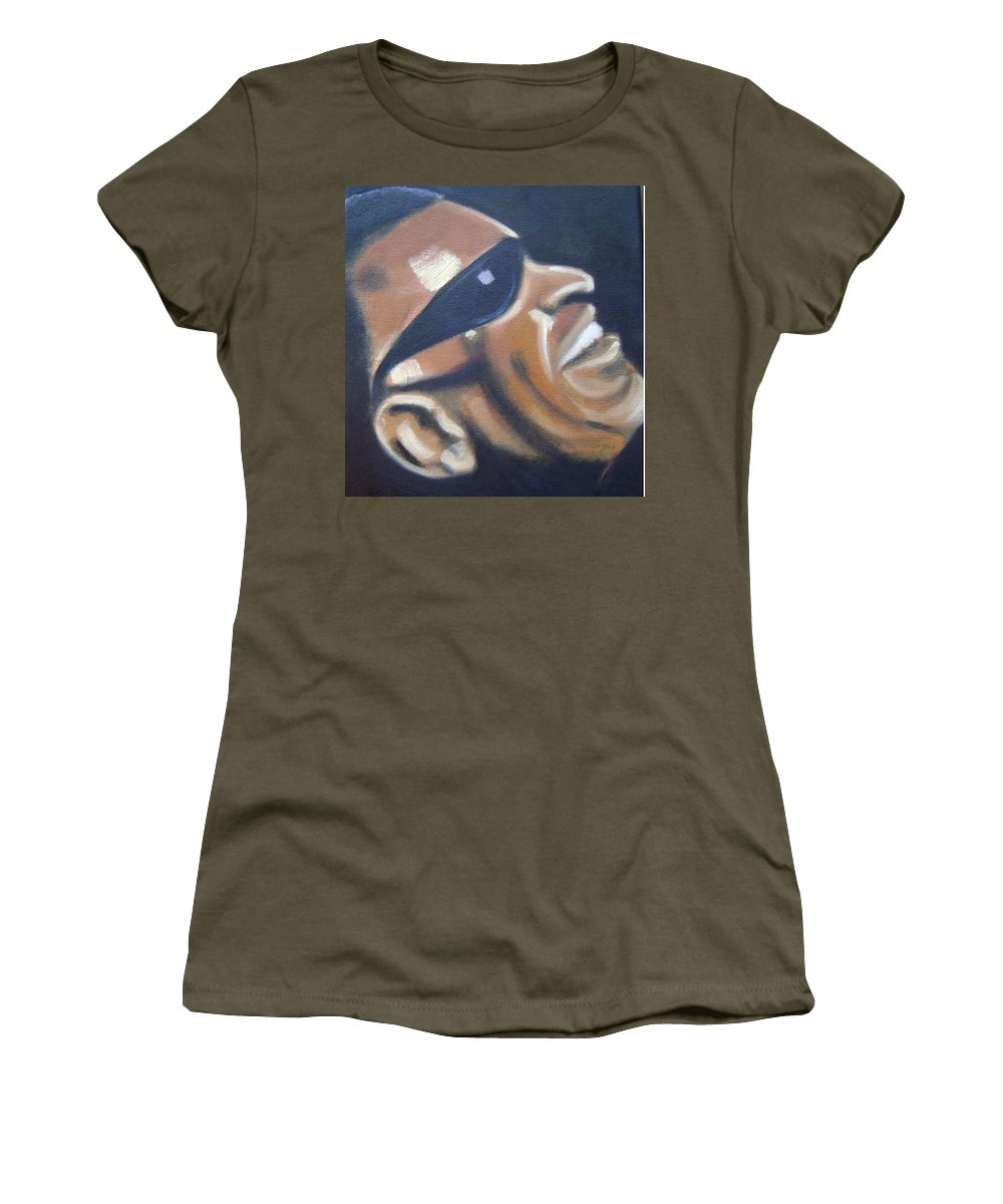 Ray Charles Women's T-Shirt (Athletic Fit) featuring the painting Ray Charles by Toni Berry