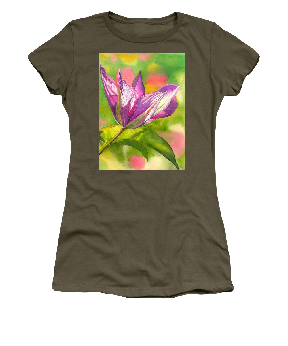 Flower Women's T-Shirt (Athletic Fit) featuring the painting Reaching by Catherine G McElroy