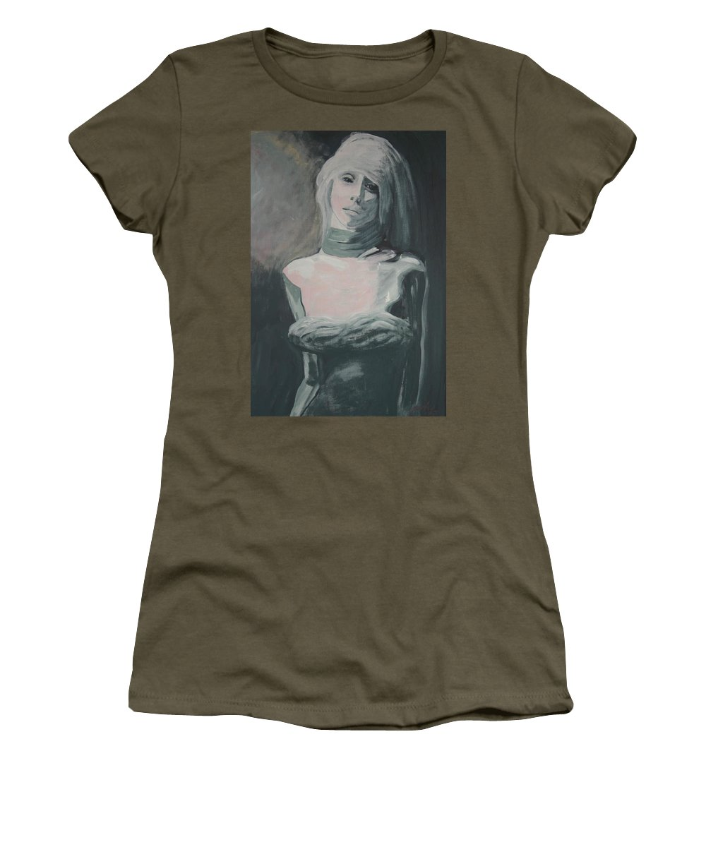 Portrait Women's T-Shirt featuring the painting Real Love Is Hard To Find by Jarmo Korhonen aka Jarko