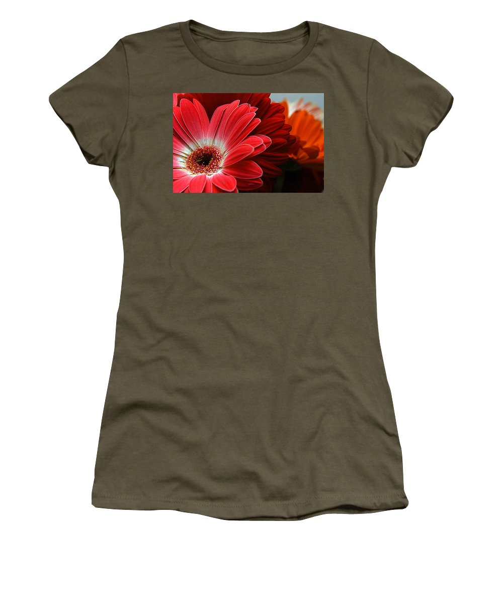Clay Women's T-Shirt (Athletic Fit) featuring the photograph Red And Orange Florals by Clayton Bruster