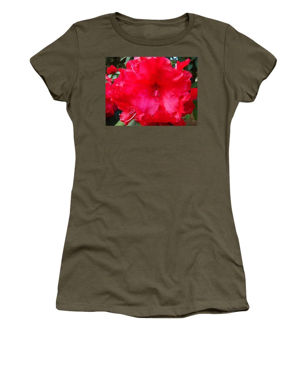 �azaleas Artwork� Women's T-Shirt featuring the photograph Red Azaleas Flowers 4 Red Azalea Garden Giclee Art Prints Baslee Troutman by Baslee Troutman