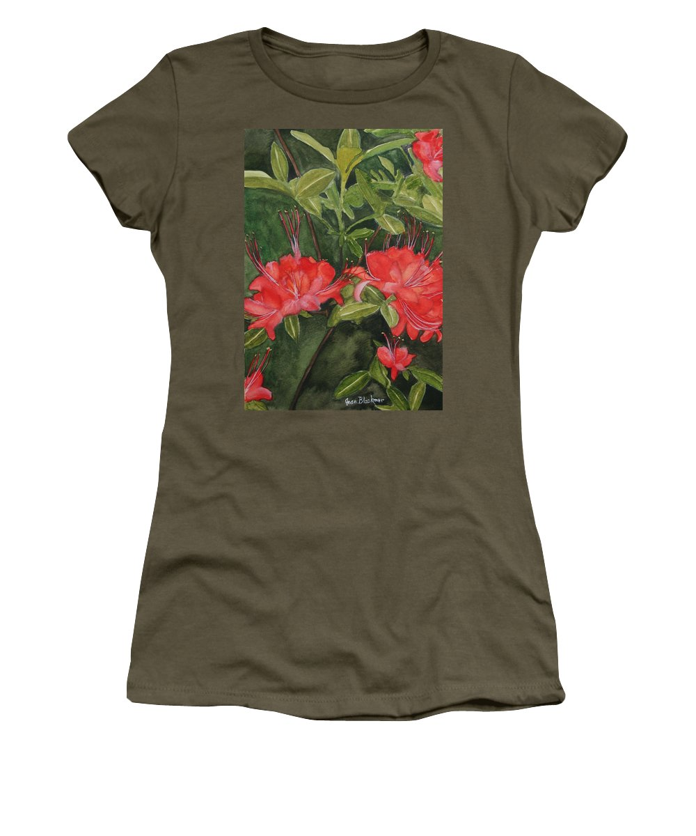 Flowers Women's T-Shirt (Athletic Fit) featuring the painting Red Blooms On The Parkway by Jean Blackmer
