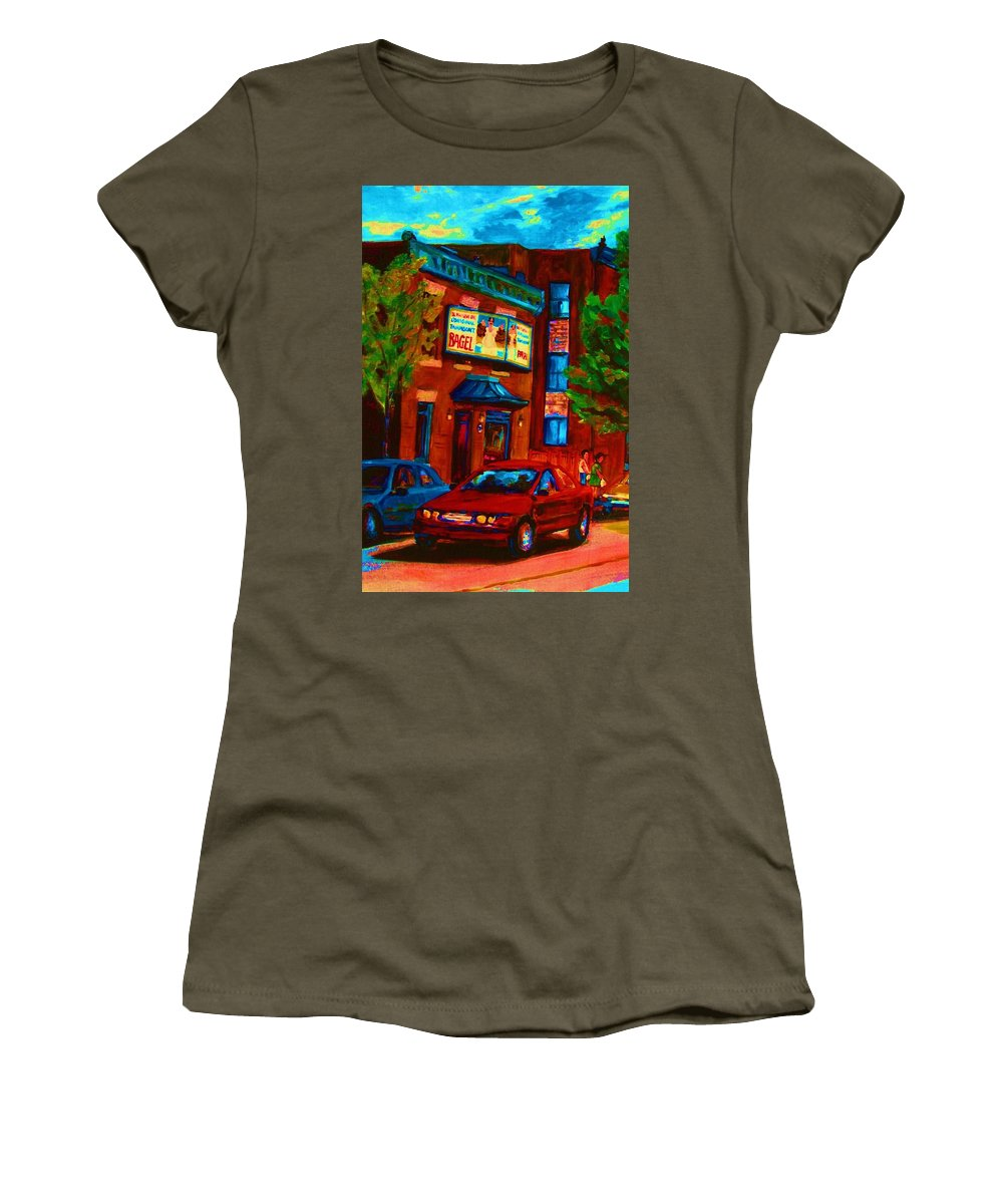 Fairmount Bagel Women's T-Shirt (Athletic Fit) featuring the painting Red Car Blue Sky by Carole Spandau