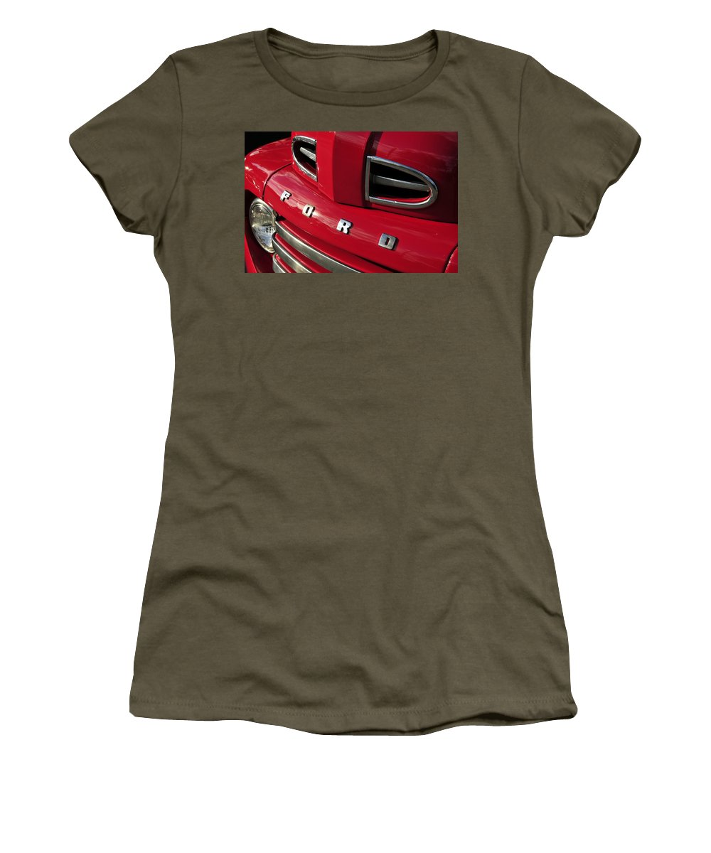 Ford Truck Women's T-Shirt featuring the photograph Red Ford Truck by David Lee Thompson