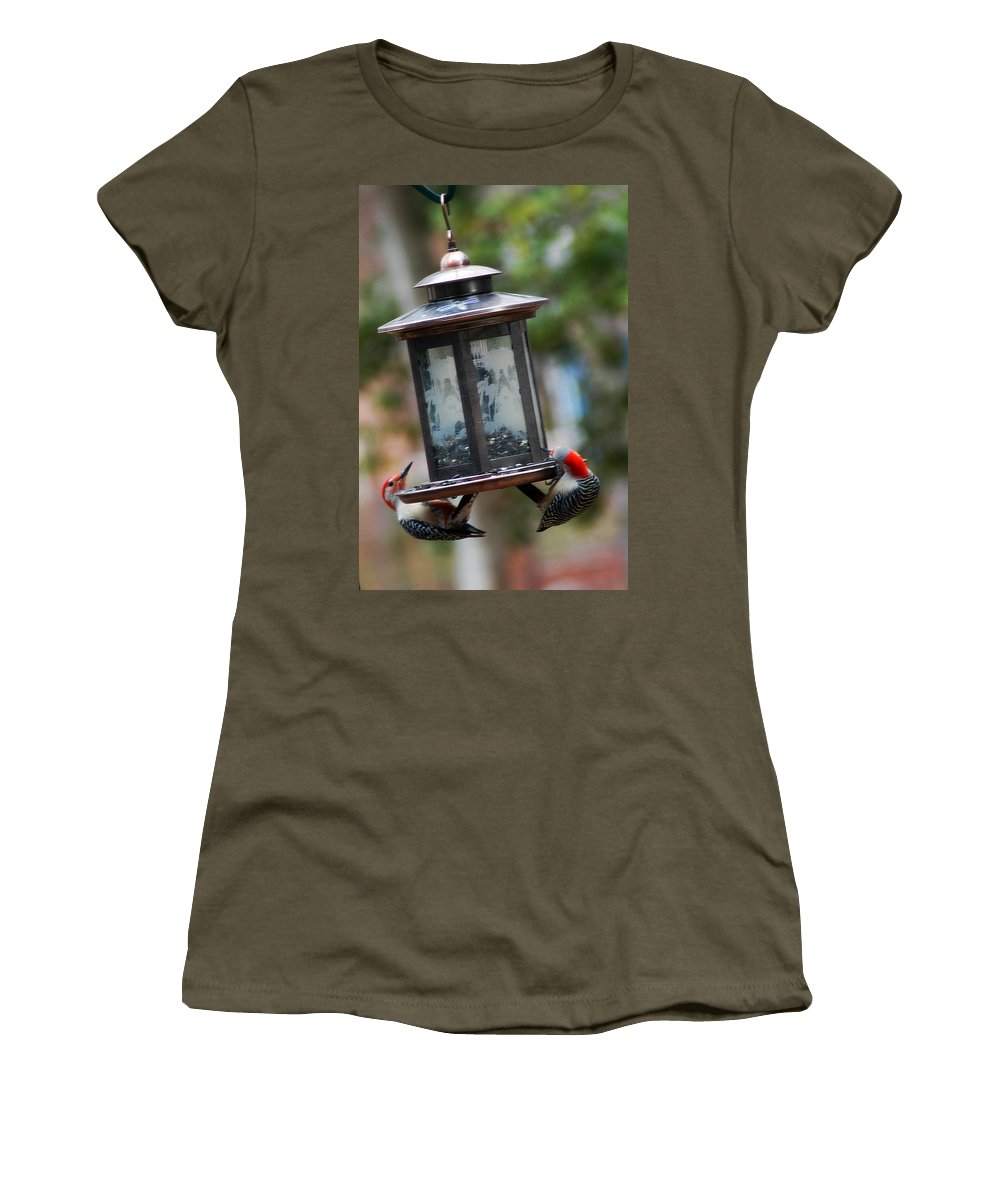 Clay Women's T-Shirt (Athletic Fit) featuring the photograph Red Head Wood Peckers On Feeder by Clayton Bruster