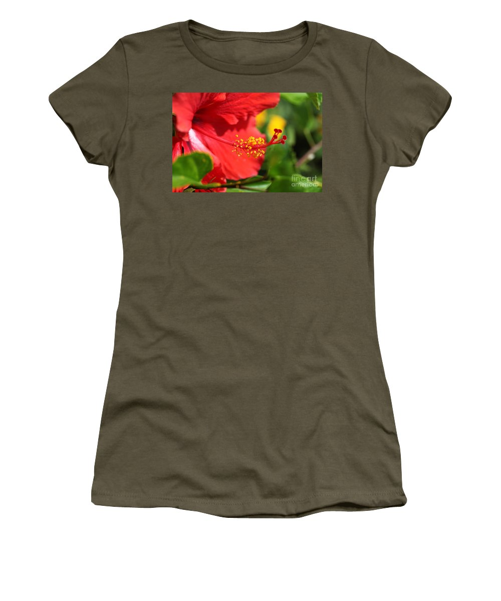 Flowers Women's T-Shirt (Athletic Fit) featuring the photograph Red Hibiscus And Green by Nadine Rippelmeyer