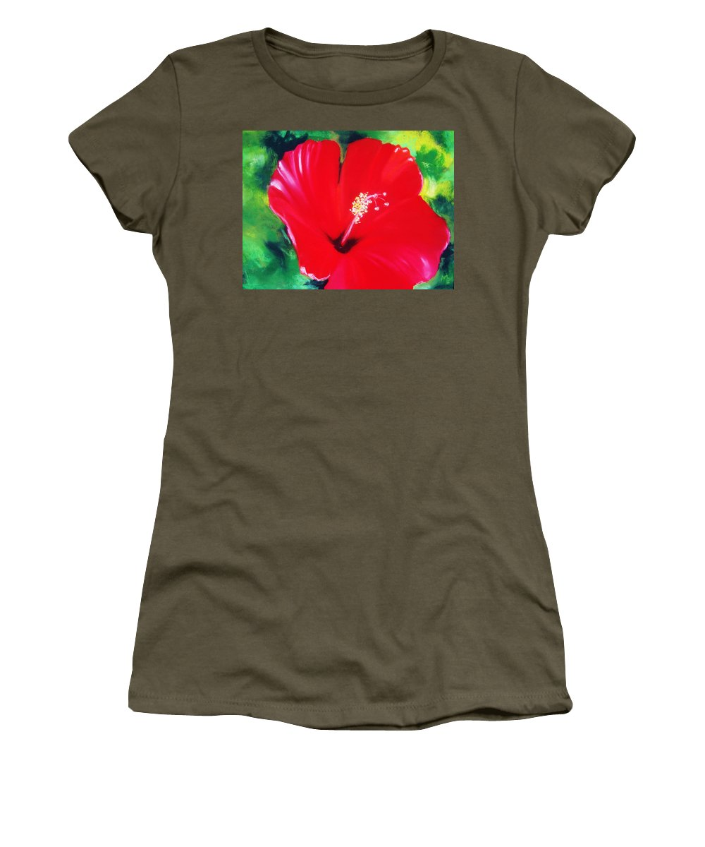 Bright Flower Women's T-Shirt featuring the painting Red Hibiscus by Melinda Etzold