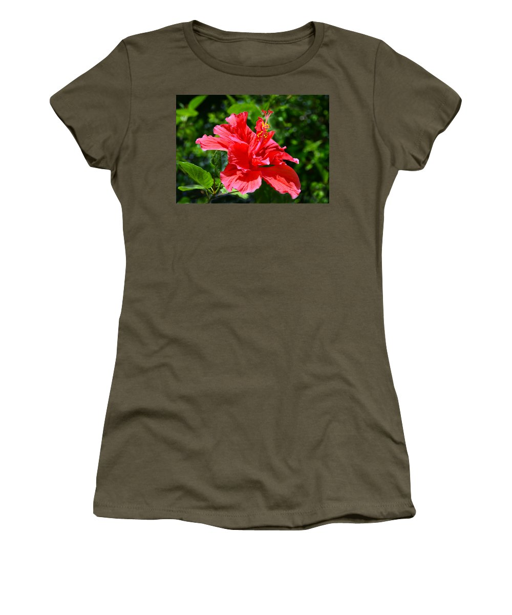 Hibiscus Women's T-Shirt featuring the photograph Red II by Sandi OReilly