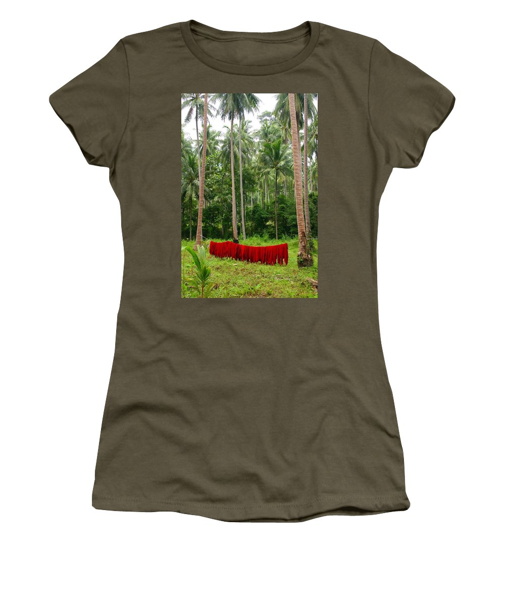 Palm Trees Women's T-Shirt (Athletic Fit) featuring the photograph Red In The Jungle by Minaz Jantz