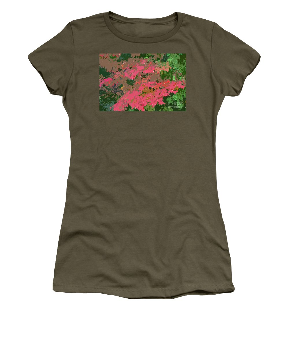 Red Women's T-Shirt (Athletic Fit) featuring the photograph Red Leafs Work Number 12 by David Lee Thompson