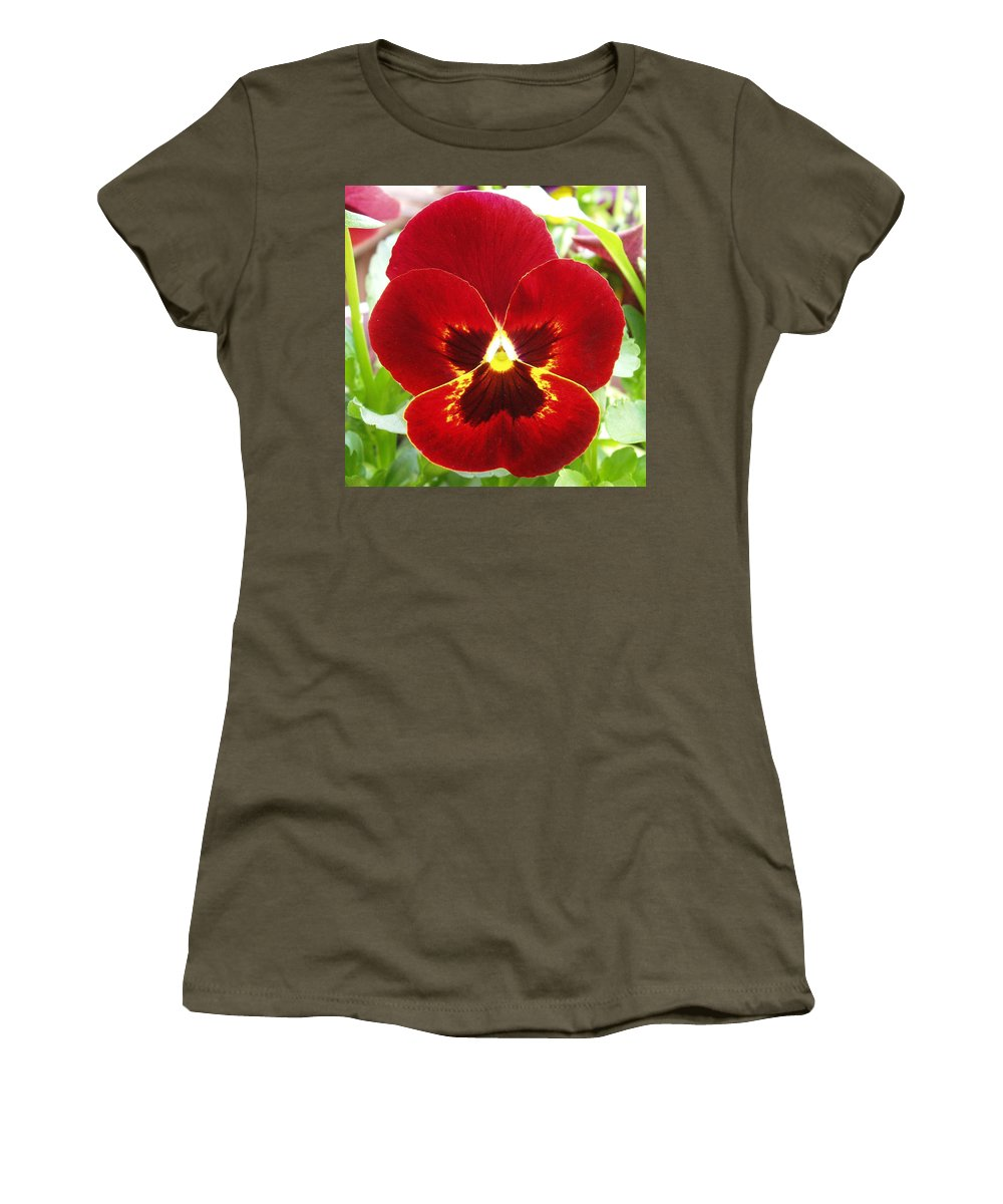 Red Women's T-Shirt featuring the photograph Red Pansy by Nancy Mueller