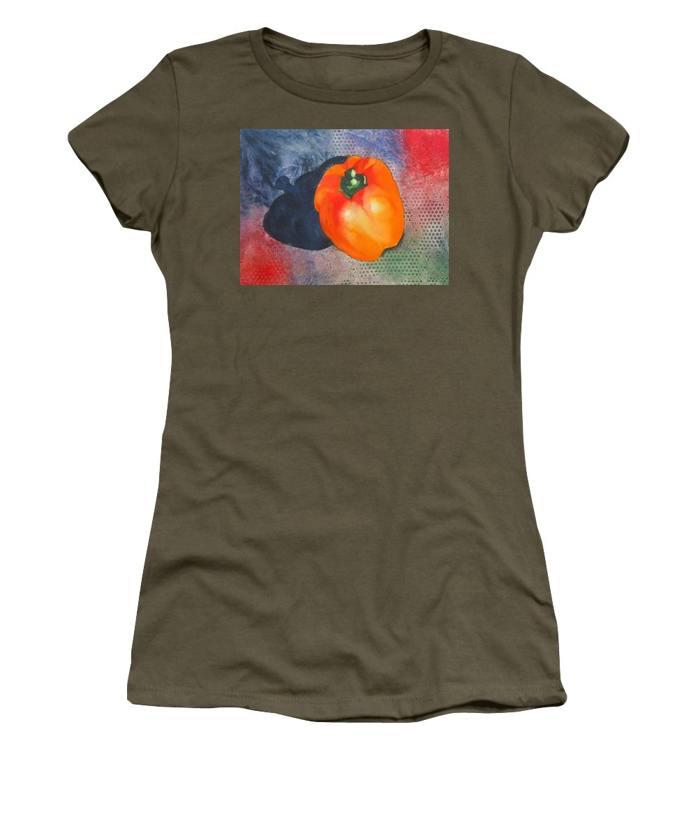 Pepper Women's T-Shirt featuring the painting Red Pepper Solo by Jean Blackmer