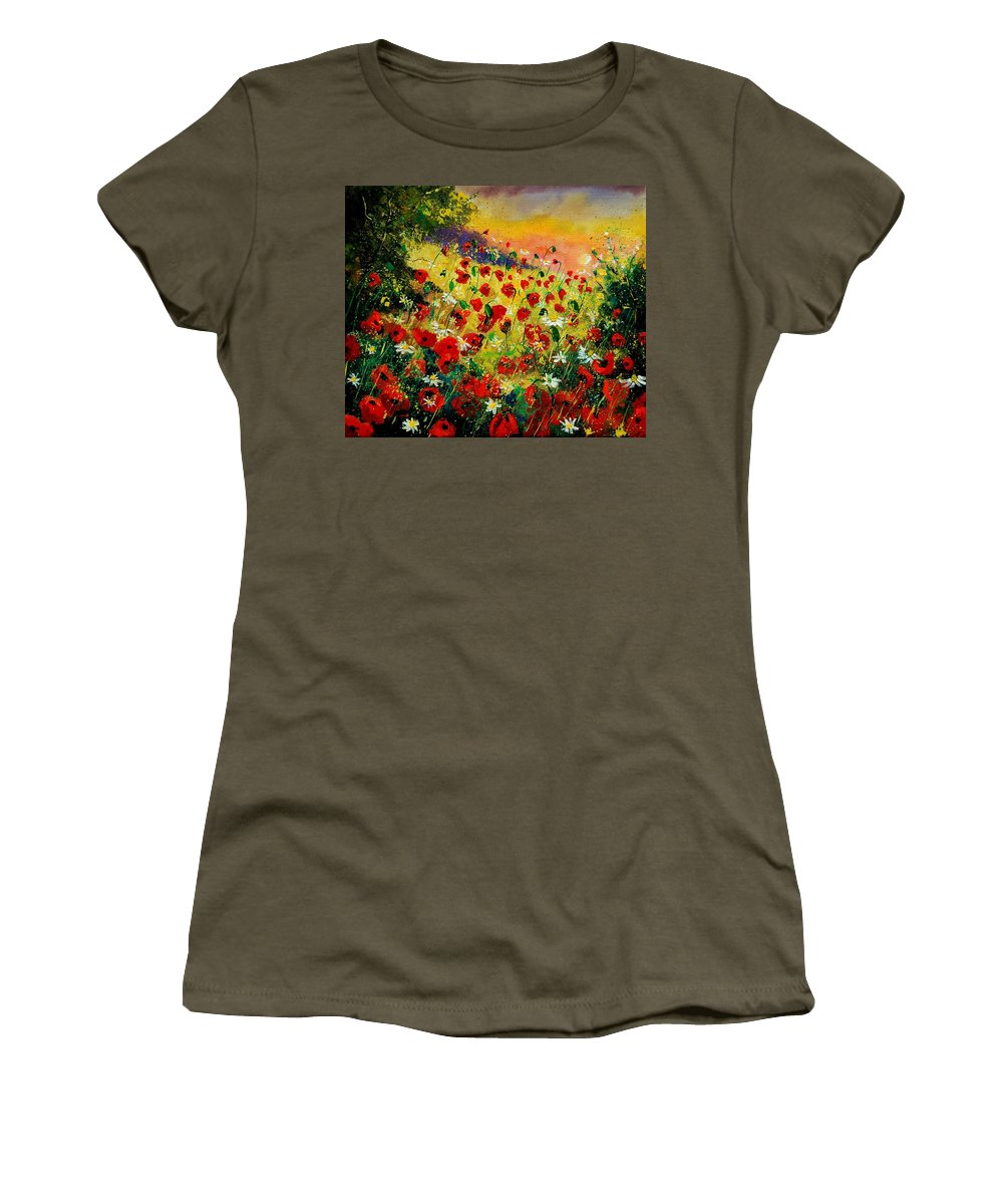 Tree Women's T-Shirt (Athletic Fit) featuring the painting Red Poppies by Pol Ledent