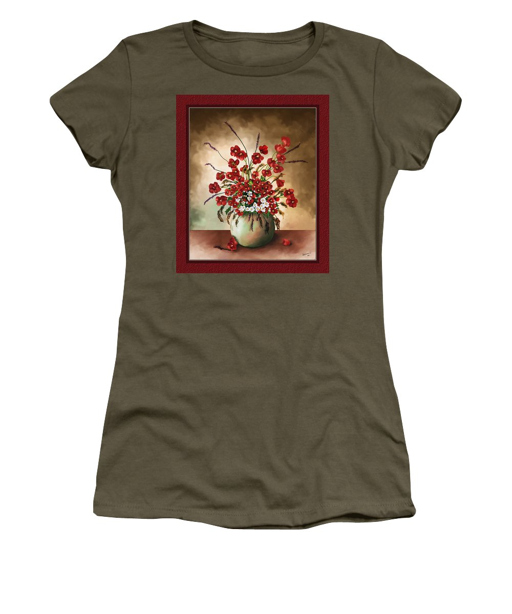 Red Poppies Women's T-Shirt featuring the digital art Red Poppies by Susan Kinney