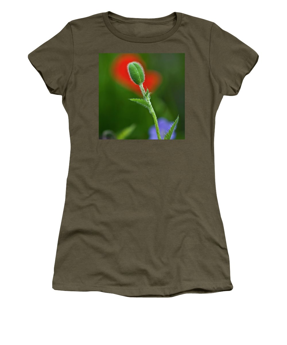 Poppy Women's T-Shirt featuring the photograph Red Poppy Bud by Heiko Koehrer-Wagner