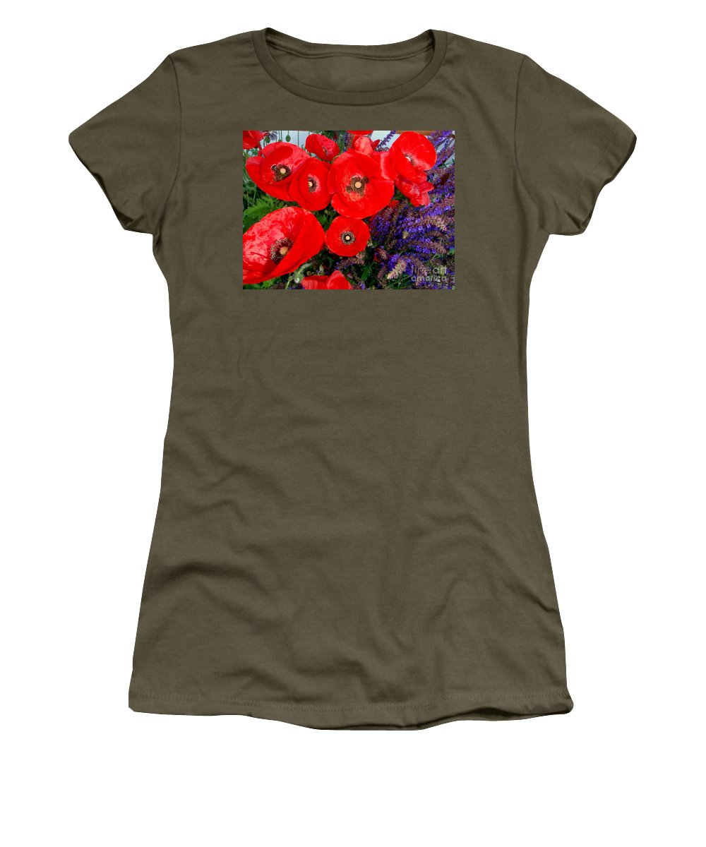Red Poppy Women's T-Shirt (Athletic Fit) featuring the photograph Red Poppy Cluster With Purple Lavender by Mary Deal