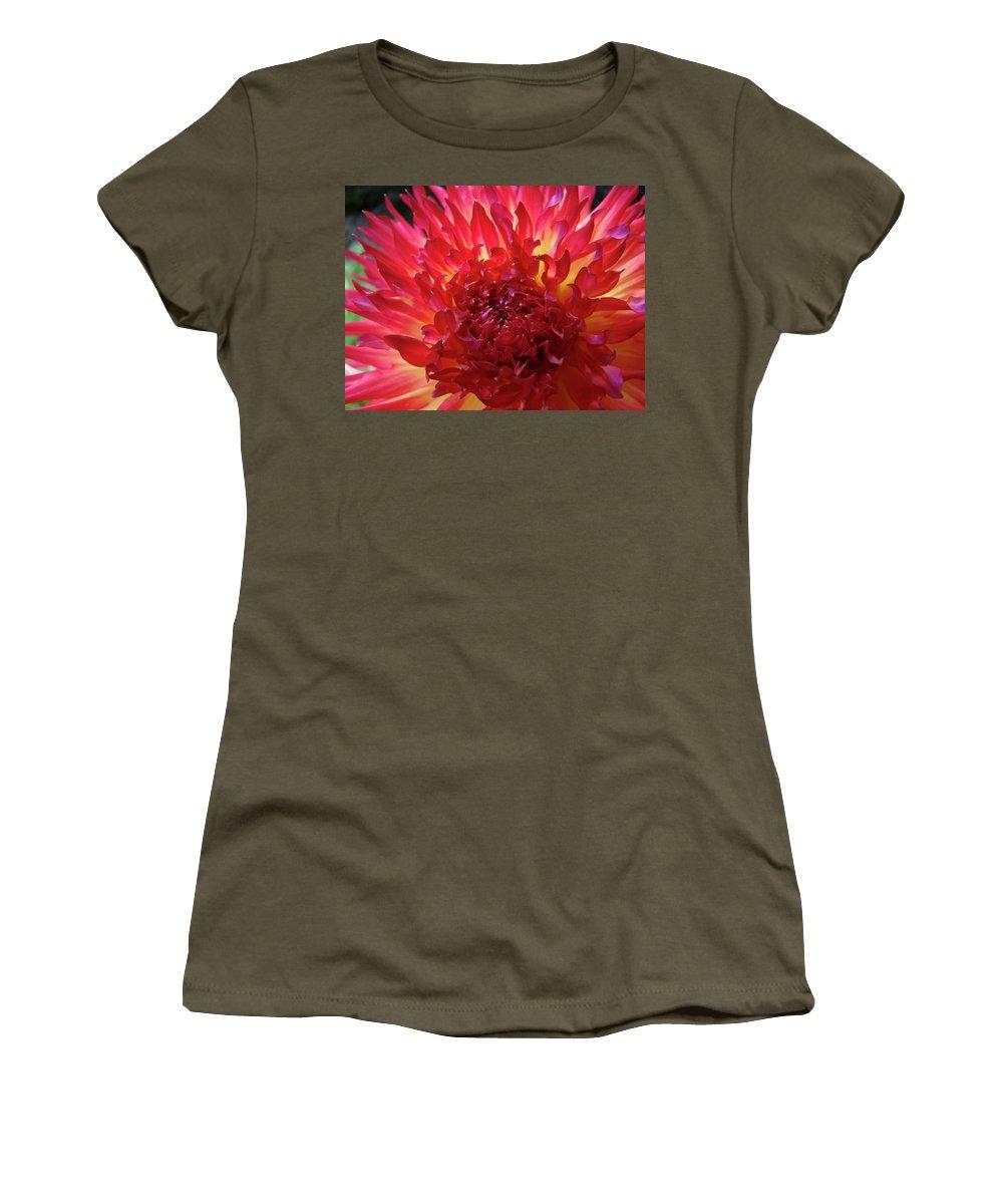 Dahlia Women's T-Shirt featuring the photograph Red Purple Dahlia Flower Summer Dahlia Garden Baslee Troutman by Baslee Troutman