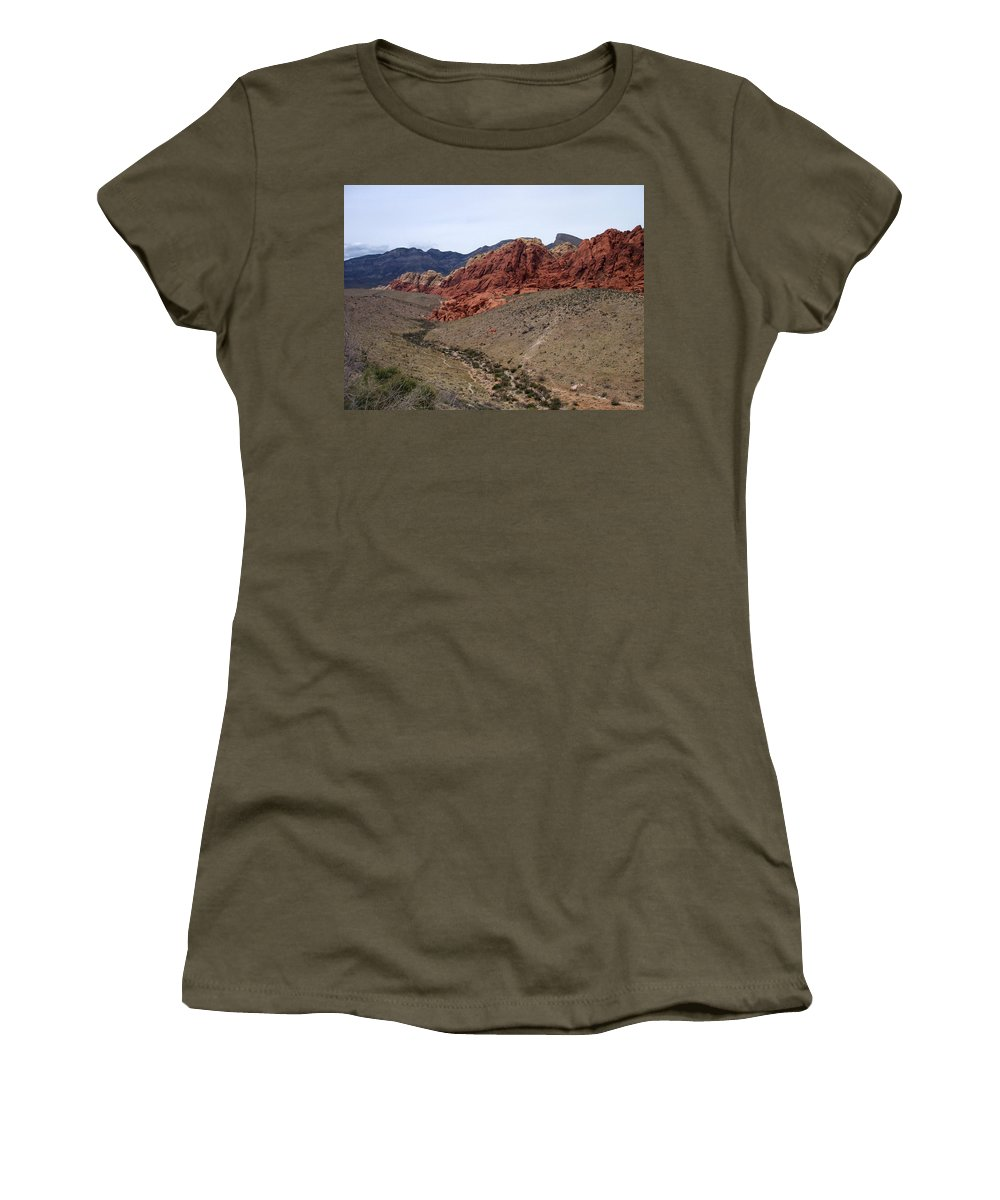 Red Rock Canyon Women's T-Shirt (Athletic Fit) featuring the photograph Red Rock Canyon 1 by Anita Burgermeister
