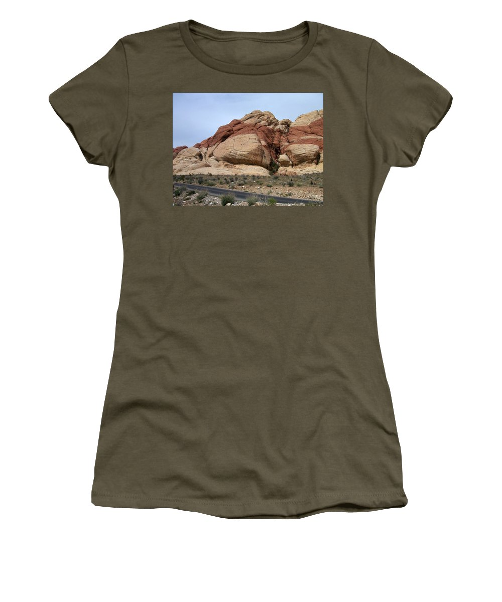 Red Rock Canyon Women's T-Shirt (Athletic Fit) featuring the photograph Red Rock Canyon 2 by Anita Burgermeister