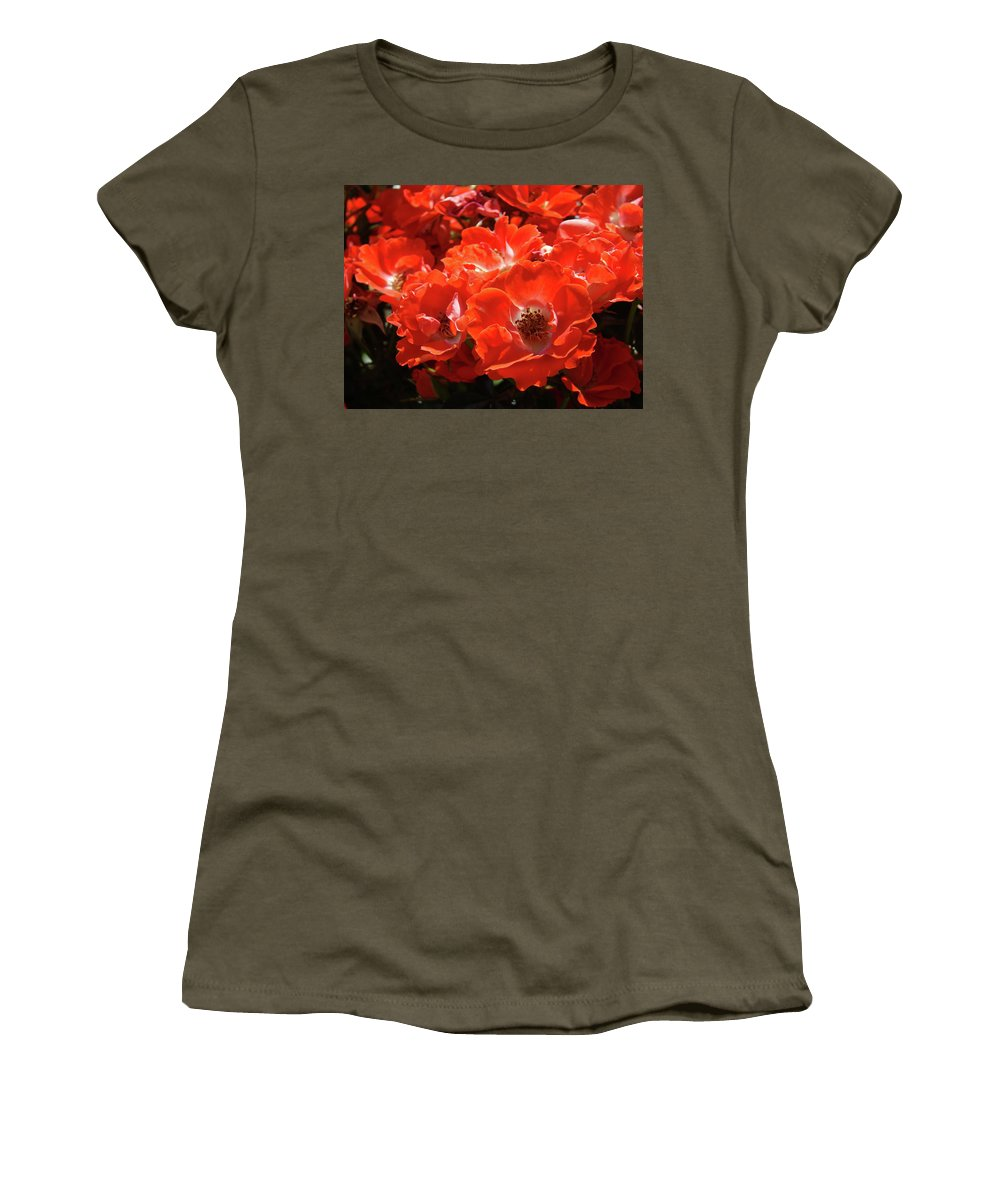 Rose Women's T-Shirt (Athletic Fit) featuring the photograph Red Roses Botanical Landscape 1 Red Rose Giclee Prints Baslee Troutman by Baslee Troutman