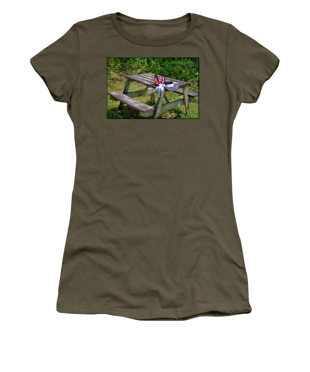 Picnic Women's T-Shirt featuring the photograph Red Shoes by Robin Ayers