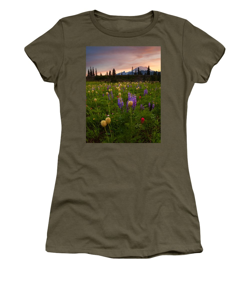 Anenome Women's T-Shirt (Athletic Fit) featuring the photograph Red Sky Meadow by Mike Dawson