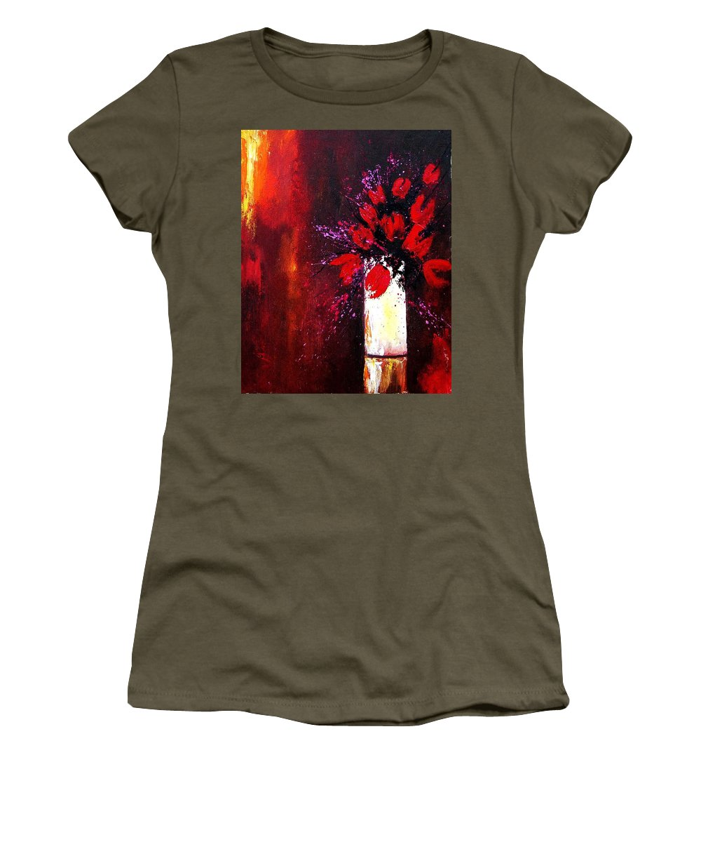 Flowers Women's T-Shirt (Athletic Fit) featuring the painting Red Tulips by Pol Ledent
