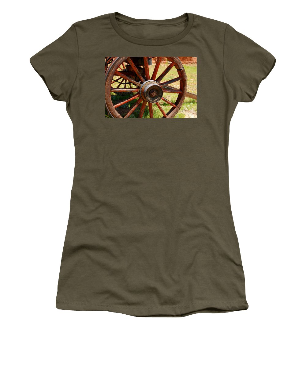 Wagon Women's T-Shirt featuring the photograph Red Wheels by David Lee Thompson