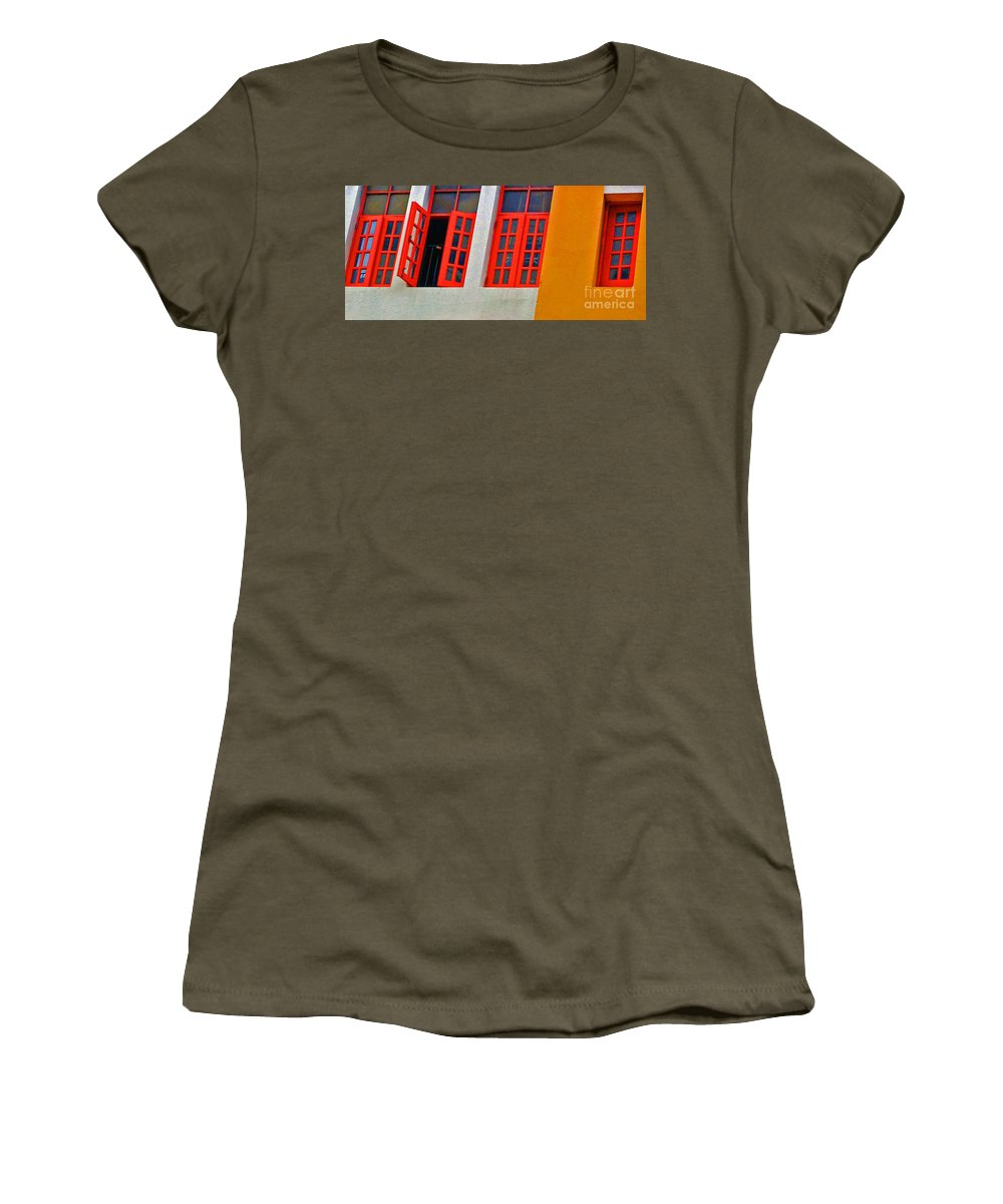 Windows Women's T-Shirt featuring the photograph Red Windows by Debbi Granruth