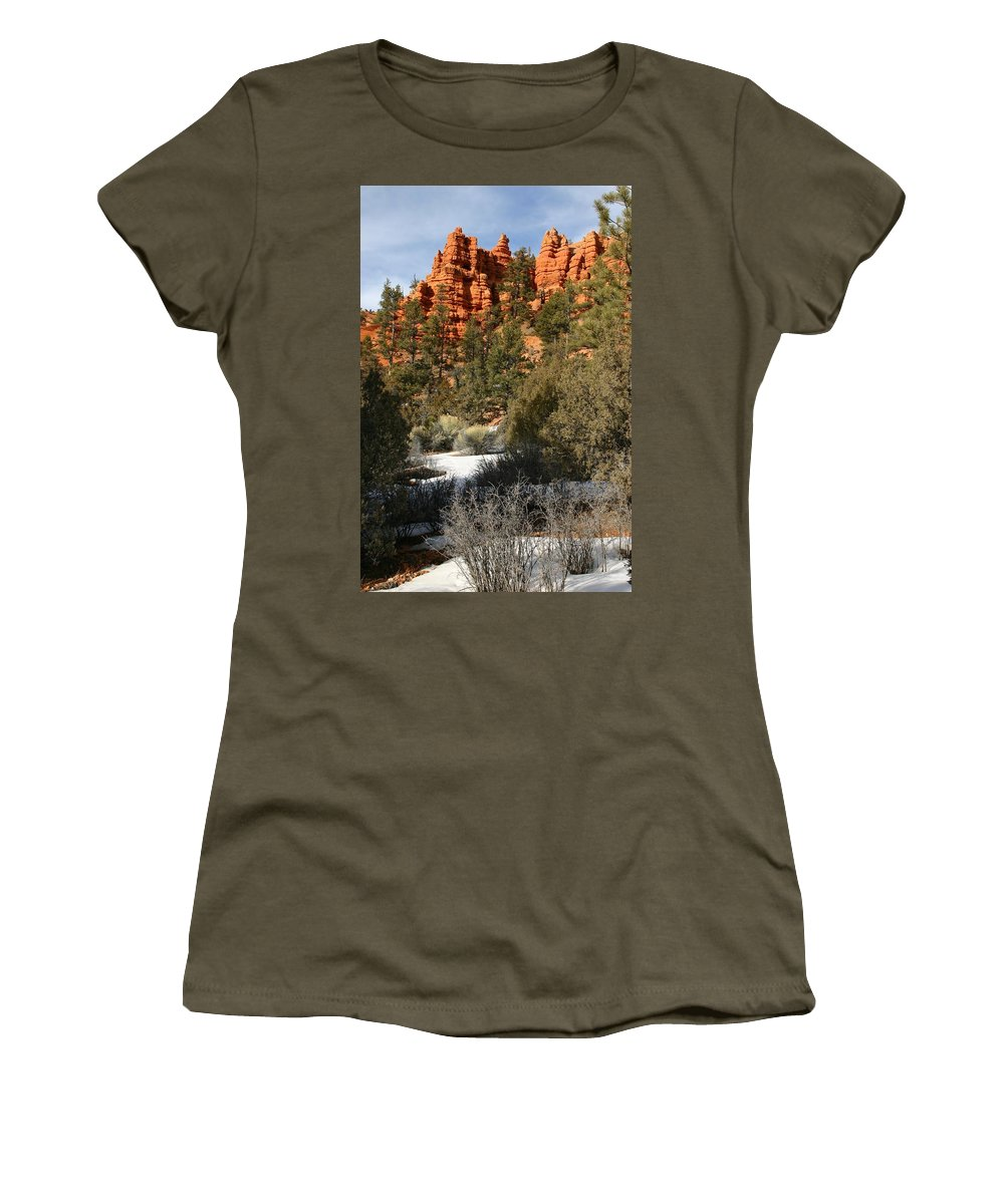 Red Rocks Women's T-Shirt (Athletic Fit) featuring the photograph Redrock Winter by Nelson Strong
