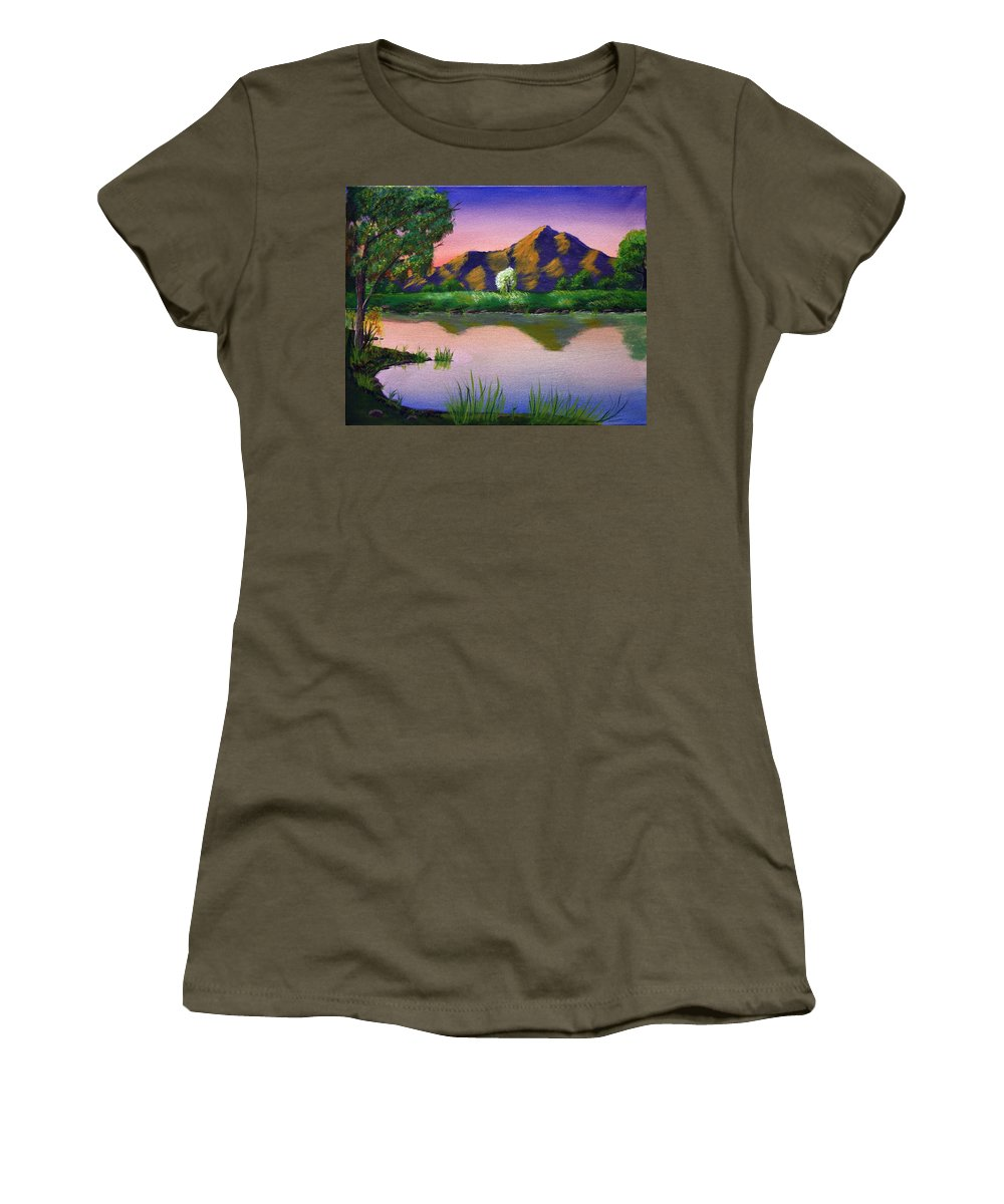 Landscape Women's T-Shirt (Athletic Fit) featuring the painting Reflections In The Breeze by Dawn Blair