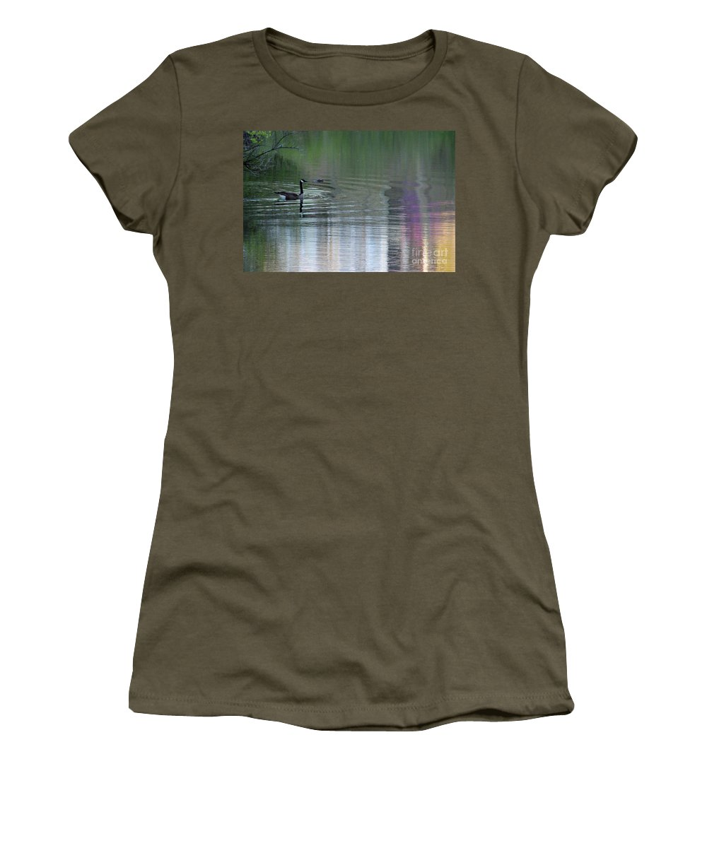 Lake Women's T-Shirt featuring the photograph Reflections Of A Canada Goose by Karen Adams