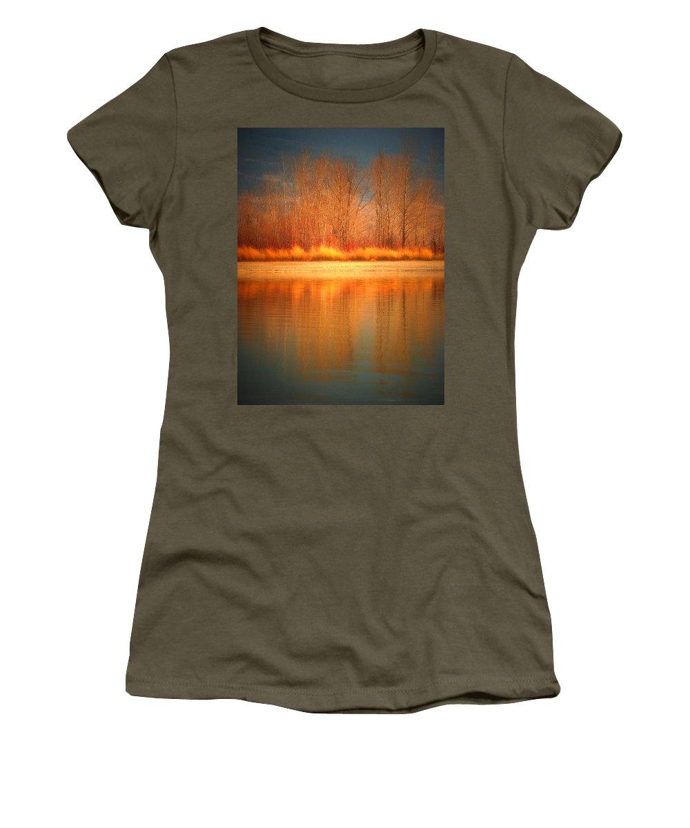 Okanagan Women's T-Shirt featuring the photograph Reflections On Fire by Tara Turner