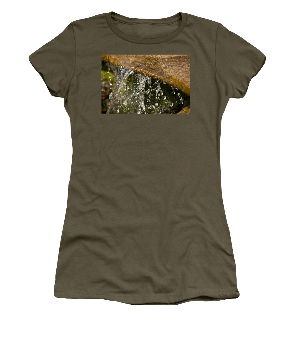 Water Stream Creek Drop Droplet Stone Run Nature Clear Cold Fall Women's T-Shirt featuring the photograph Refreshment by Andrei Shliakhau