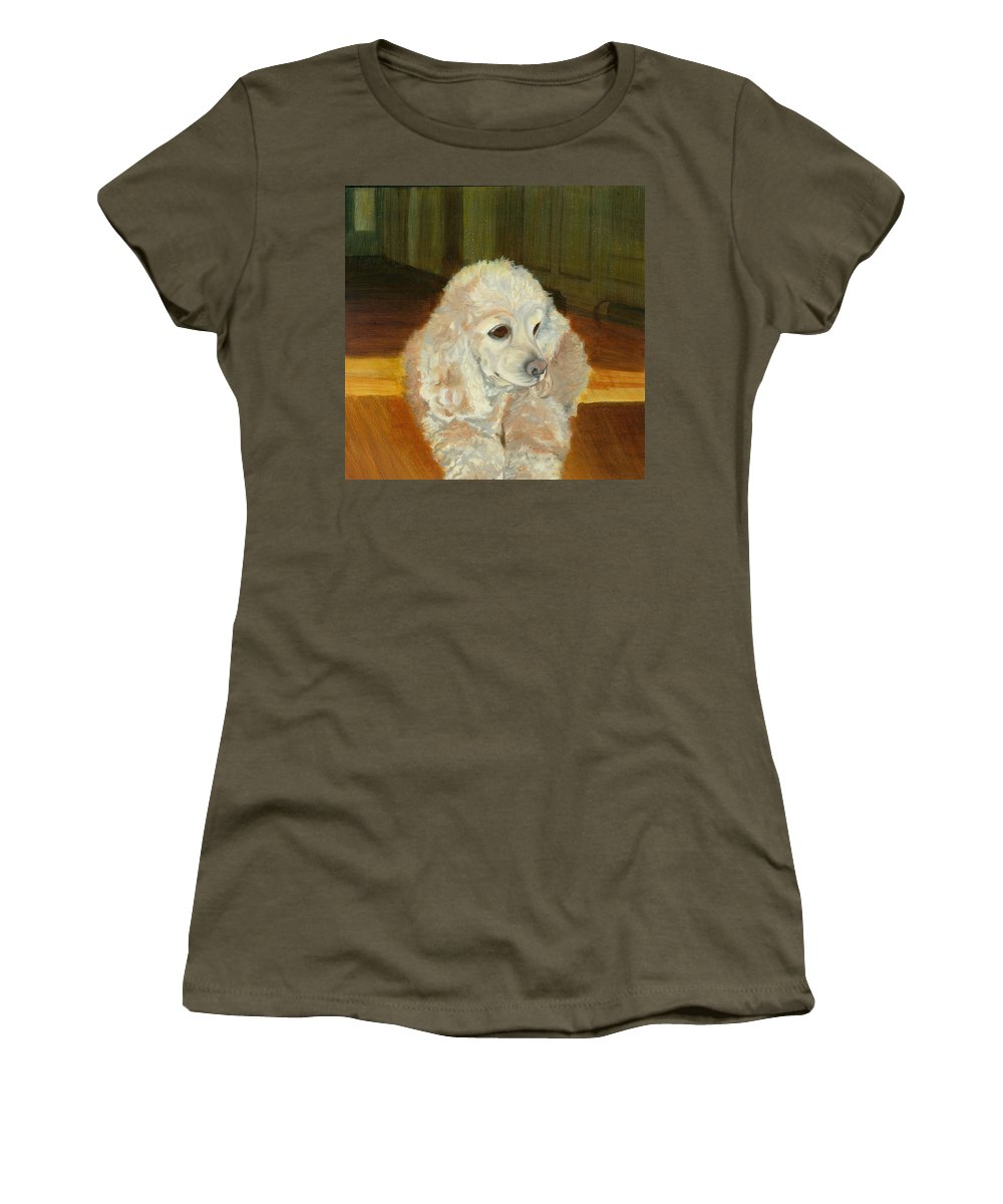 Animal Women's T-Shirt (Athletic Fit) featuring the painting Remembering Morgan by Paula Emery