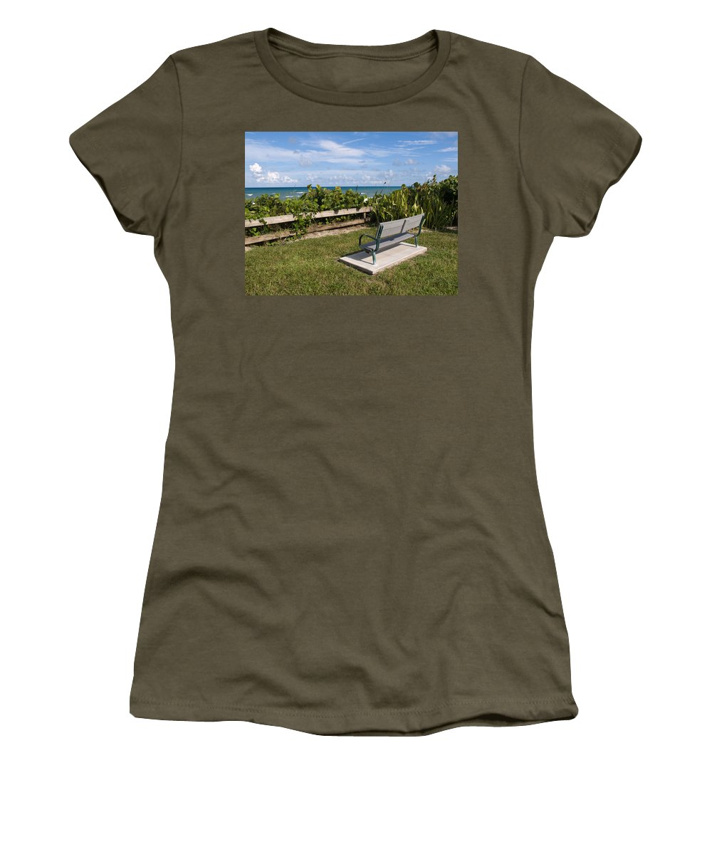 Bench; Public; Florida; Melbourne; Beach; Coast; Shore; Surf; Sand; Brevard; Space; Ocean; Sea; Atla Women's T-Shirt (Athletic Fit) featuring the photograph Reserved For A Visitor To East Coast Florida by Allan Hughes