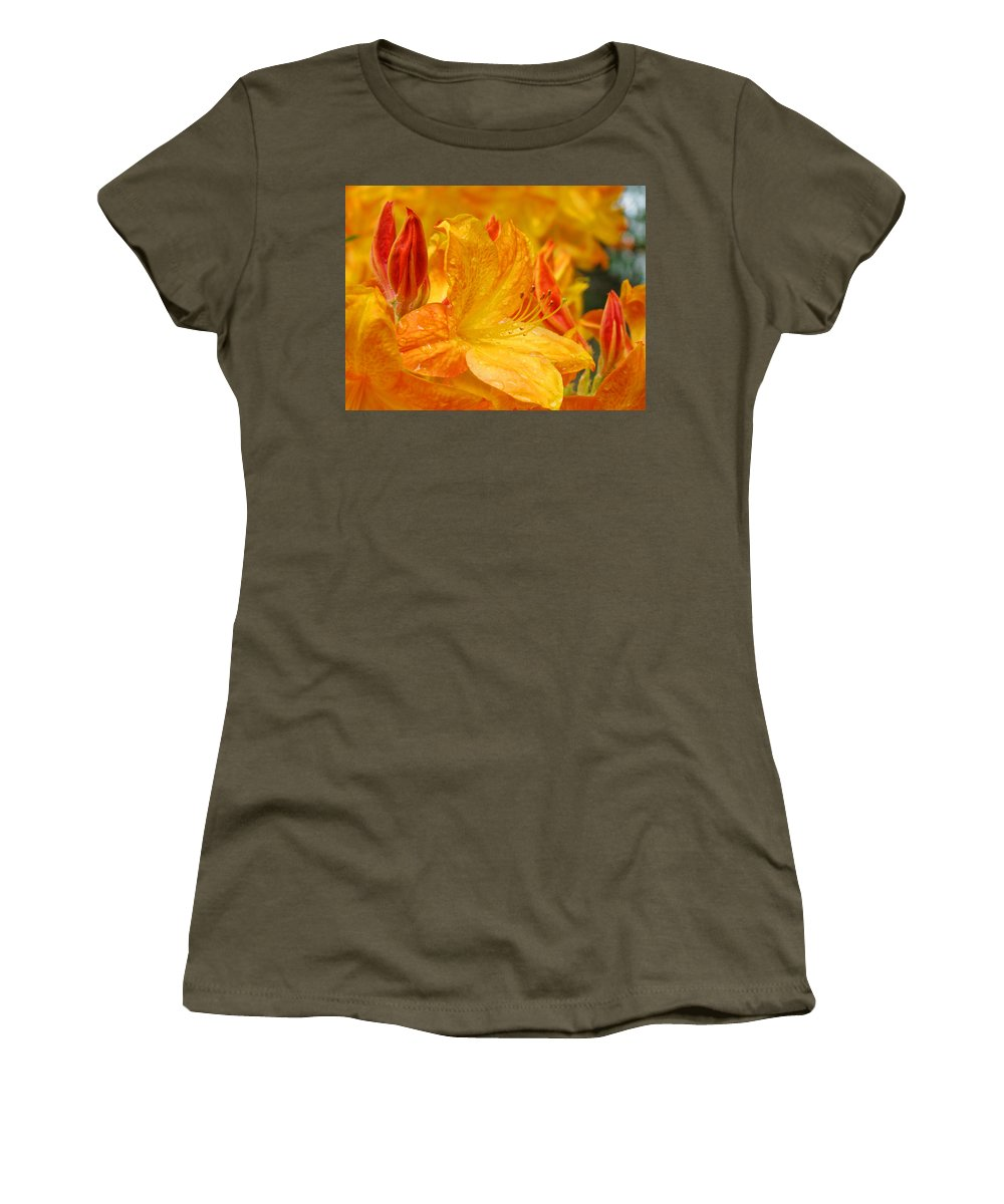 Rhodie Women's T-Shirt featuring the photograph Rhodies Orange Yellow Rhododendrons Art Prints Canvas Baslee Troutman by Baslee Troutman
