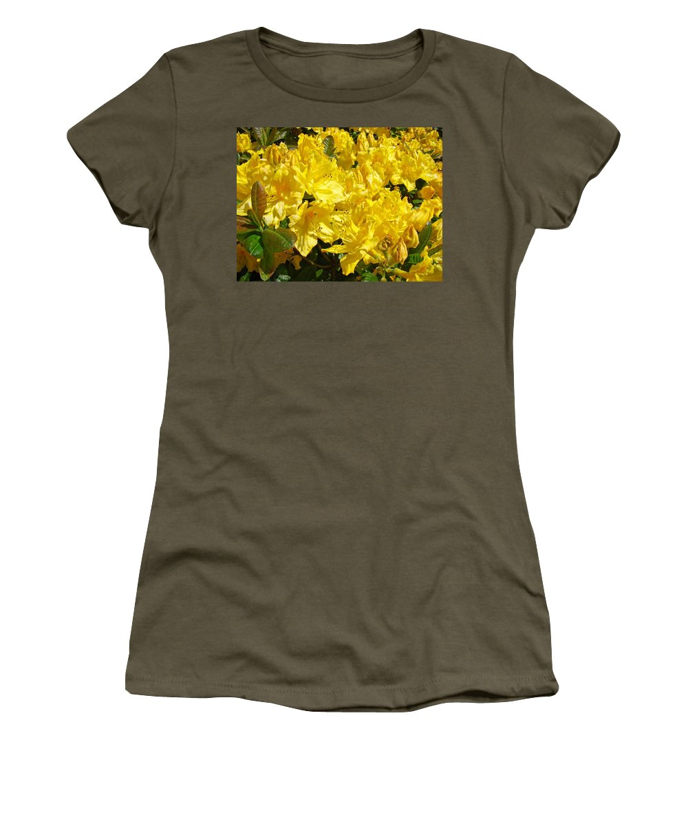Rhodie Women's T-Shirt (Athletic Fit) featuring the photograph Rhodies Yellow Rhododendrons Art Prints Baslee Troutman by Baslee Troutman