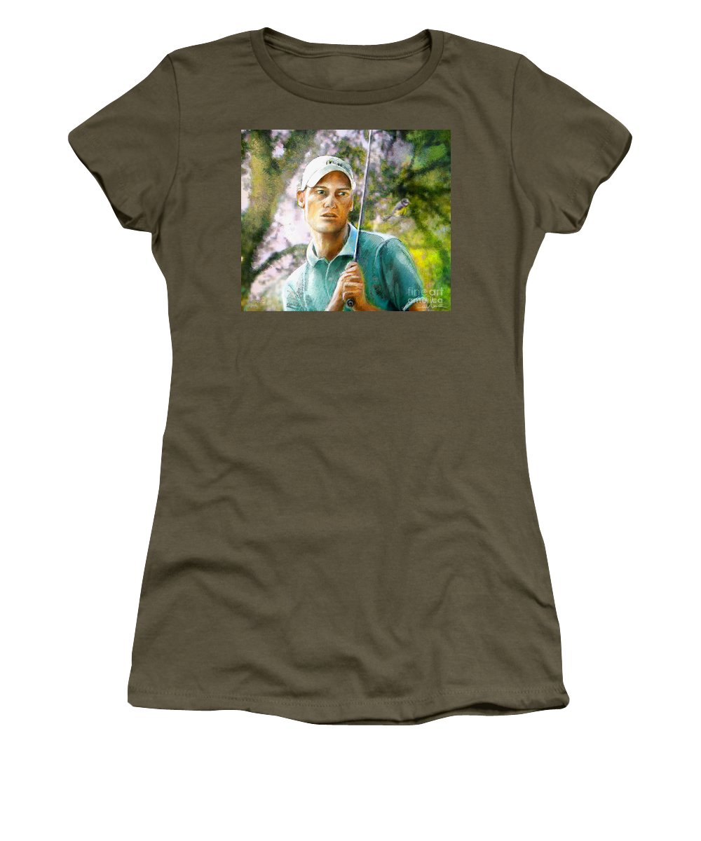 Rhys Davies Women's T-Shirt (Athletic Fit) featuring the painting Rhys Davies by Miki De Goodaboom