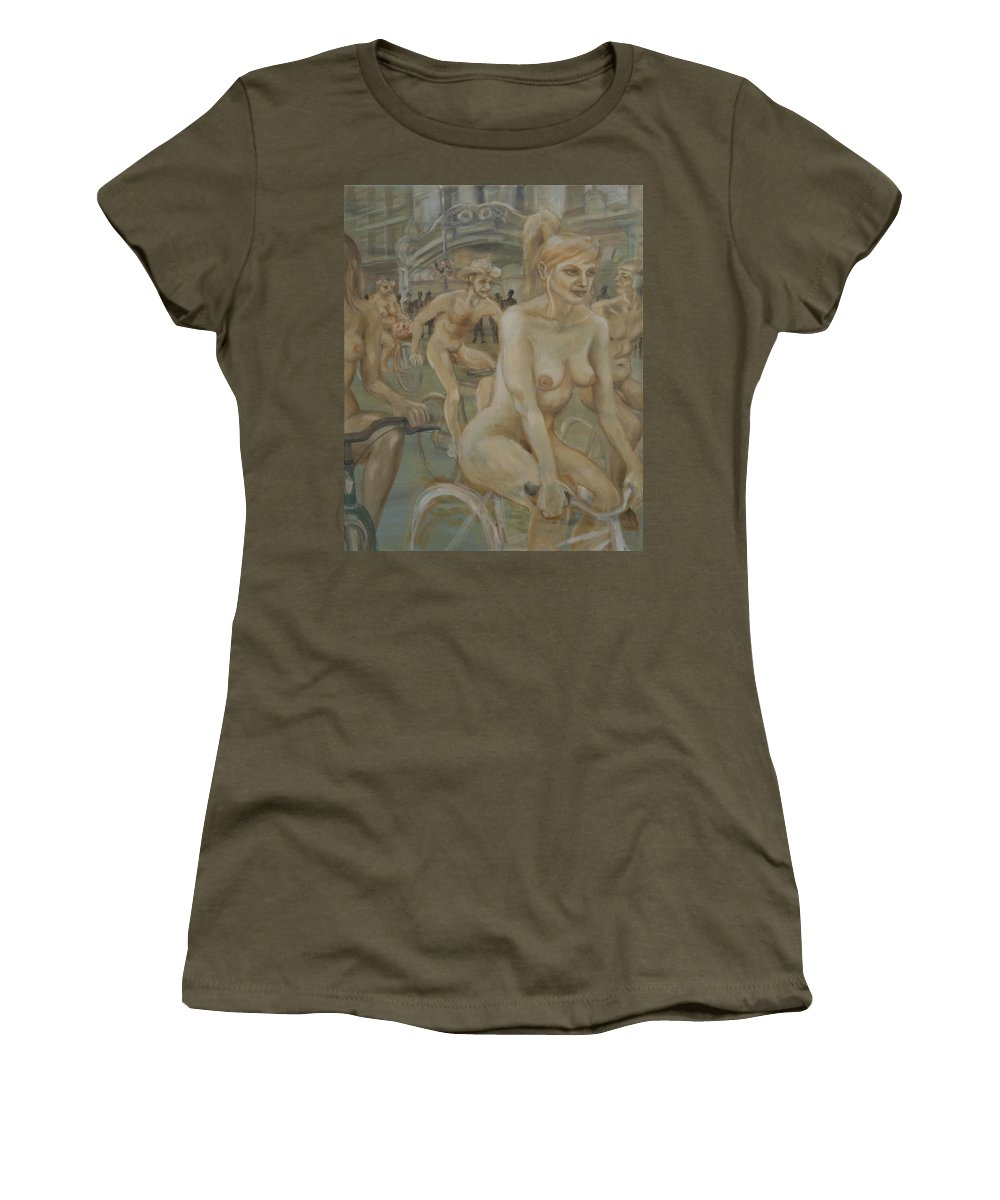 Nude In Motion Women's T-Shirt featuring the painting Riding Passed Burlington Arcade In June by Peregrine Roskilly
