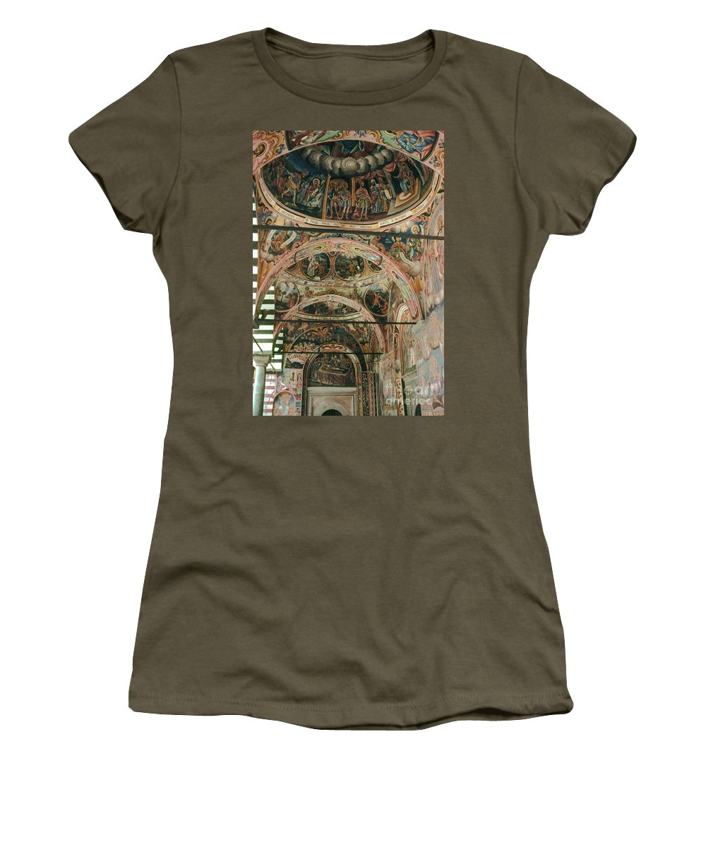 Rila Monastery Bulgaria Monasteries Icons Interior Odds And Ends Fresco Frescos Orthodox Church Churches Dome Domes Architecture Chapel Chapels Women's T-Shirt featuring the photograph Rila Monaster by Bob Phillips