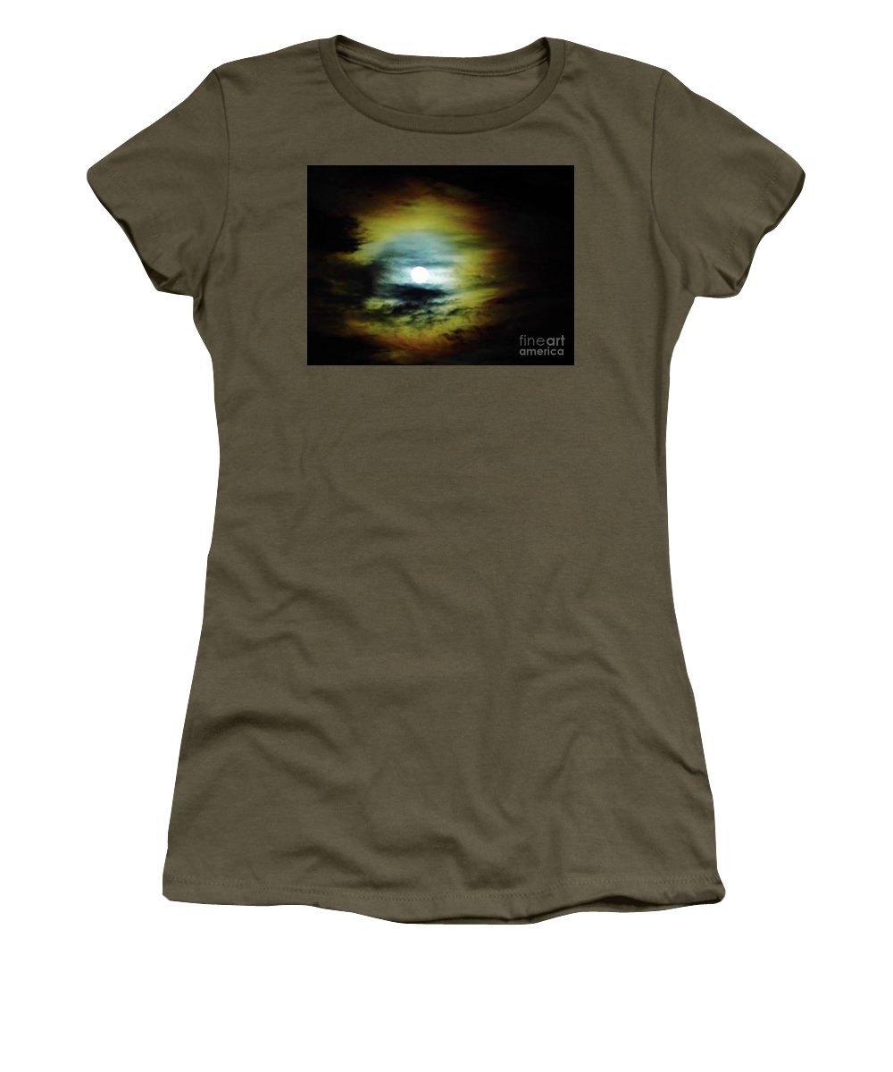 Moon Women's T-Shirt featuring the photograph Ring Around The Moon by D Hackett