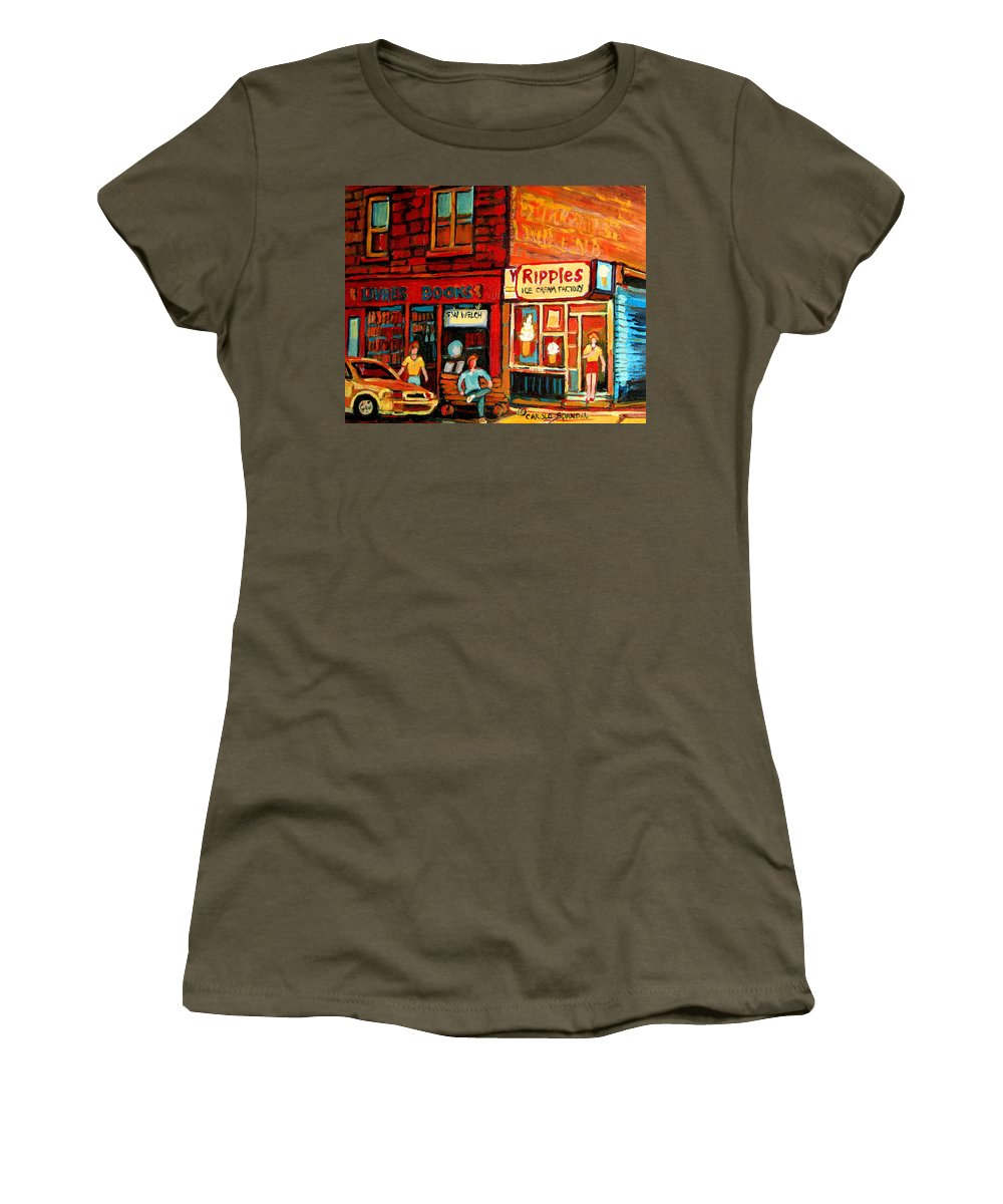 Ripples Icecream Factory Women's T-Shirt featuring the painting Ripples Ice Cream Factory by Carole Spandau