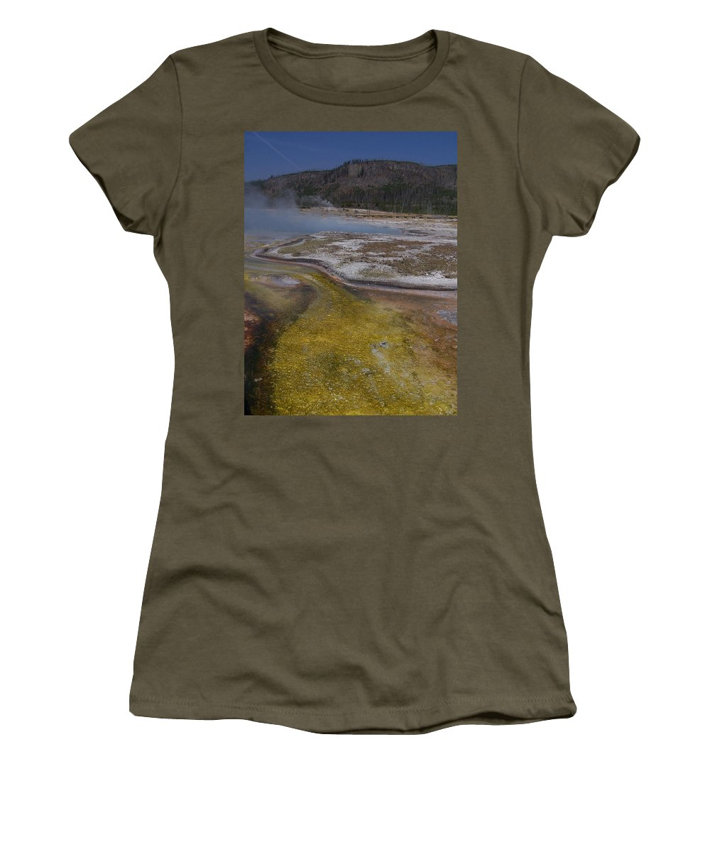 Geyser Women's T-Shirt (Athletic Fit) featuring the photograph River Of Gold by Gale Cochran-Smith